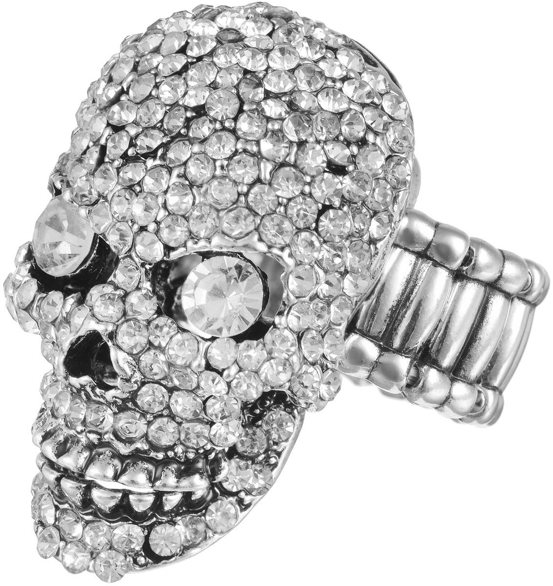 Кольцо женское Taya, цвет: серебристый. T-B-11620T-B-11620-RING-SILVERОригинальное безразмерное кольцо Taya выполнено из бижутерного сплава на основе латуни, оформлено в виде черепа и инкрустировано стразами. Нижняя челюсть подвижная, может открываться и закрываться. Регулируется кольцо с помощью эластичной резинки. Такое кольцо это блестящее завершение вашего неповторимого и смелого образа и отличный подарок для ценительницы необычных украшений!