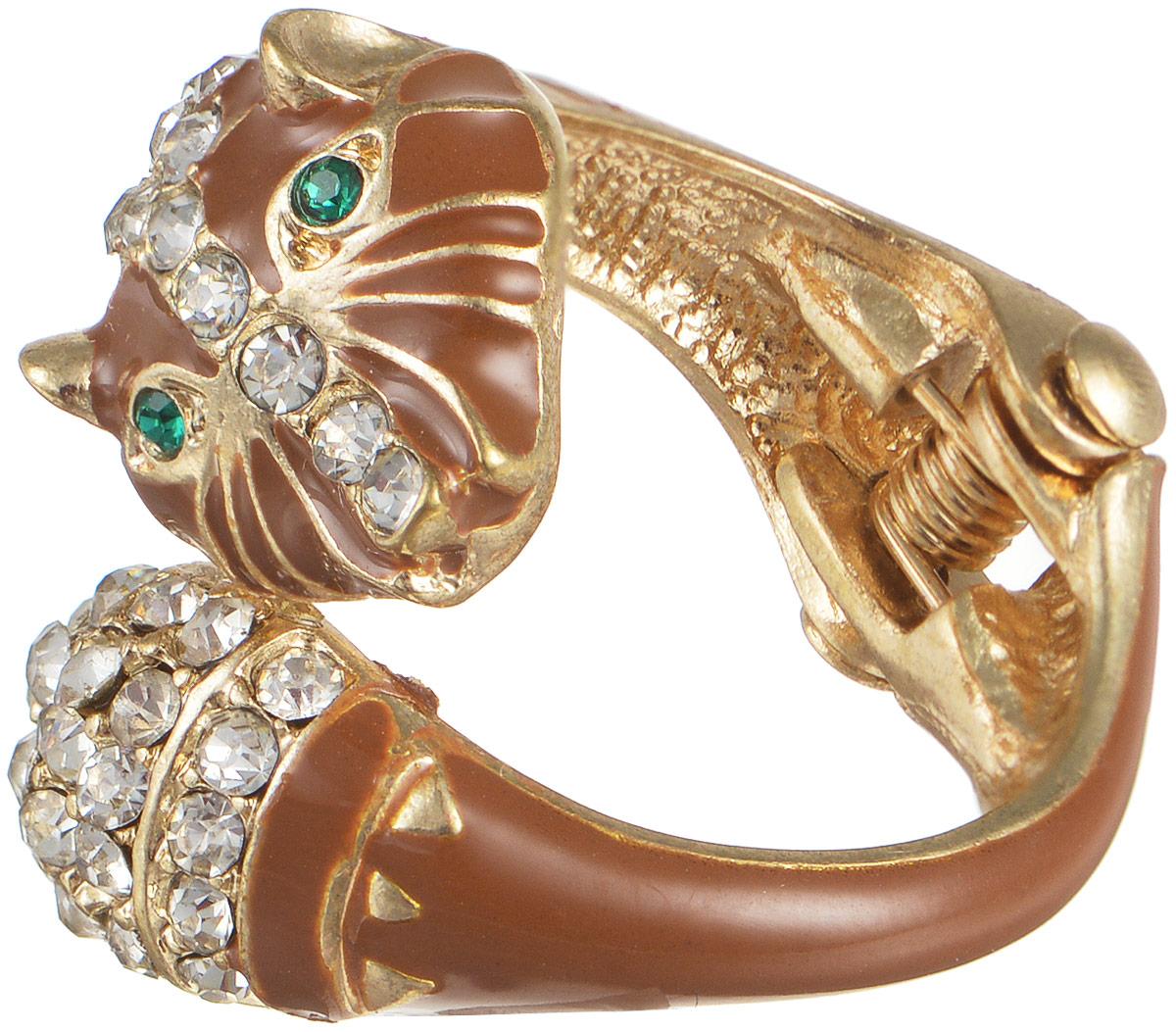 Кольцо женское Taya, цвет: золотистый, коричневый. T-B-5877T-B-5877-RING-GL.BROWNОригинальное безразмерное кольцо Taya выполнено из бижутерного сплава и оформлено в виде головы животного и дополнено стразами и эмалью. Модель регулируется при помощи пружинного механизма. Такое кольцо это блестящее завершение вашего неповторимого и смелого образа и отличный подарок для ценительницы необычных украшений!