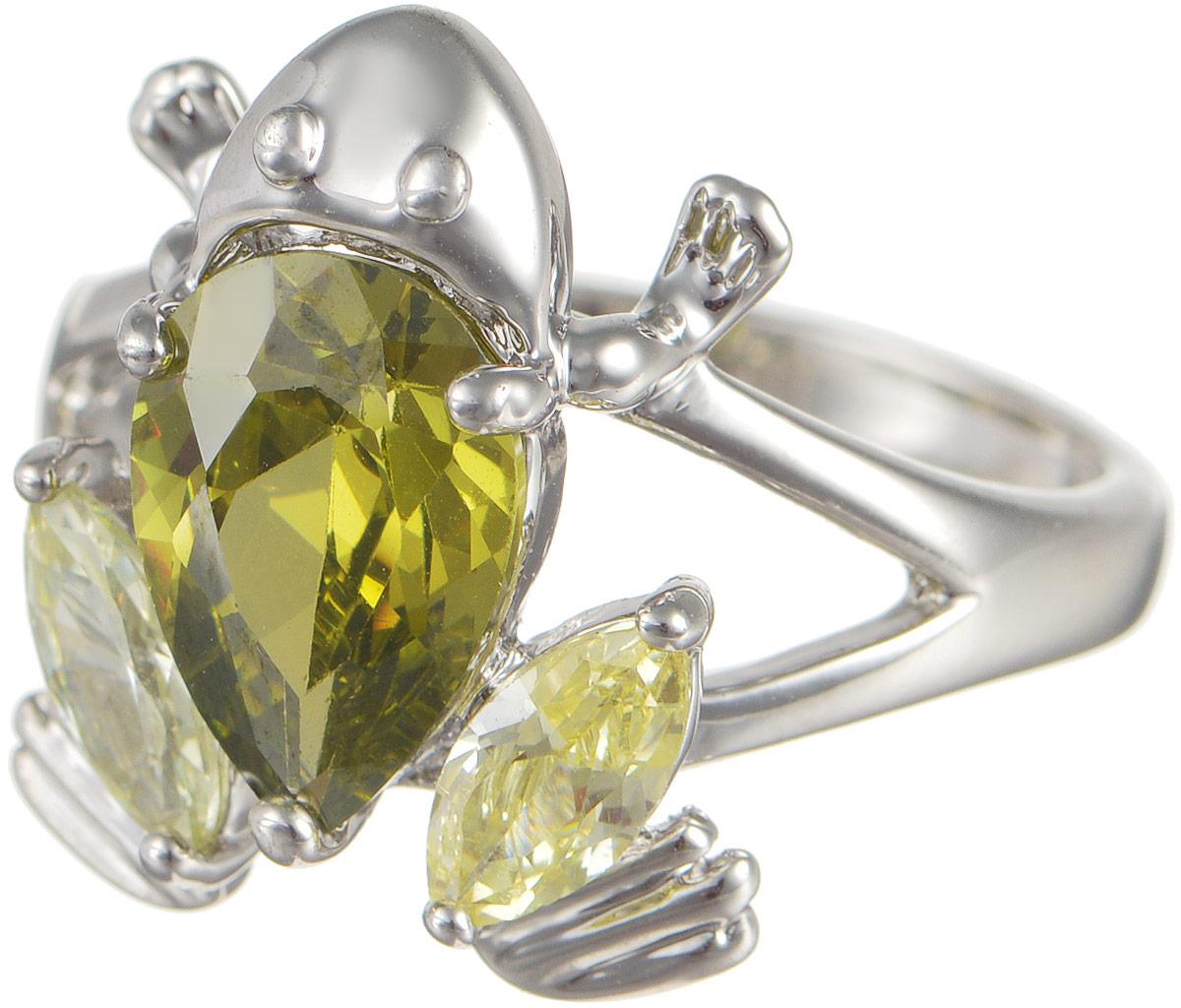 Кольцо женское Taya, цвет: серебристый, зеленый. T-B-4823T-B-4823-RING-RH.GREENОригинальное кольцо Taya выполнено из бижутерного сплава оформлено в виде лягушки и дополнено цирконами. Такое кольцо это блестящее завершение вашего неповторимого и смелого образа и отличный подарок для ценительницы необычных украшений!