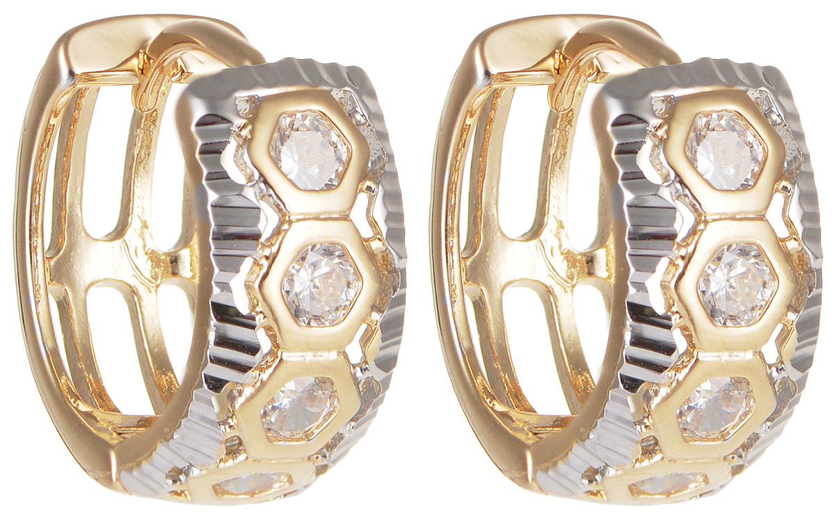 Серьги Taya, цвет: золотистый, серебристый. T-B-11659T-B-11659-EARR-GOLDМодные позолоченные серьги Taya изготовлены из бижутерного сплава и оформлены цирконами. Застегивается изделие с помощью замка-конго. Оригинальные серьги внесут изюминку, как в повседневный, так и в выходной образ и позволят выделиться среди окружающих.