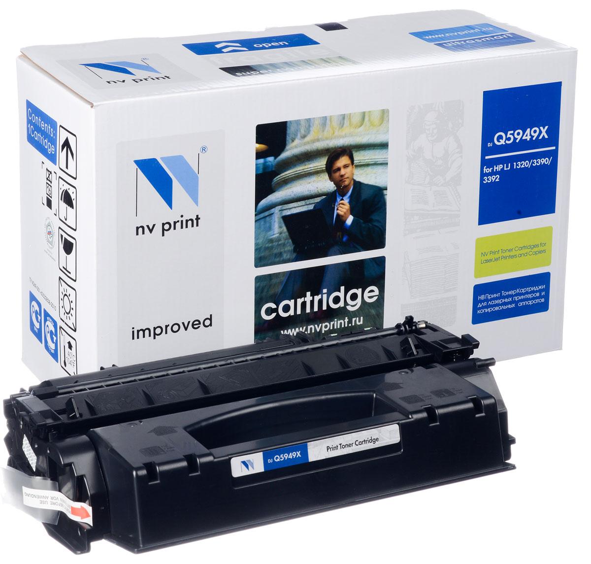 NV Print NV-Q5949X, Black тонер-картридж для HP LaserJet 1320/3390/3392NV-Q5949XСовместимый лазерный картридж NV Print NV-Q5949X для печатающих устройств HP - это альтернатива приобретению оригинальных расходных материалов. При этом качество печати остается высоким. Картридж обеспечивает повышенную чёткость чёрного текста и плавность переходов оттенков серого цвета и полутонов, позволяет отображать мельчайшие детали изображения. Лазерные принтеры, копировальные аппараты и МФУ являются более выгодными в печати, чем струйные устройства, так как лазерных картриджей хватает на значительно большее количество отпечатков, чем обычных. Для печати в данном случае используются не чернила, а тонер.