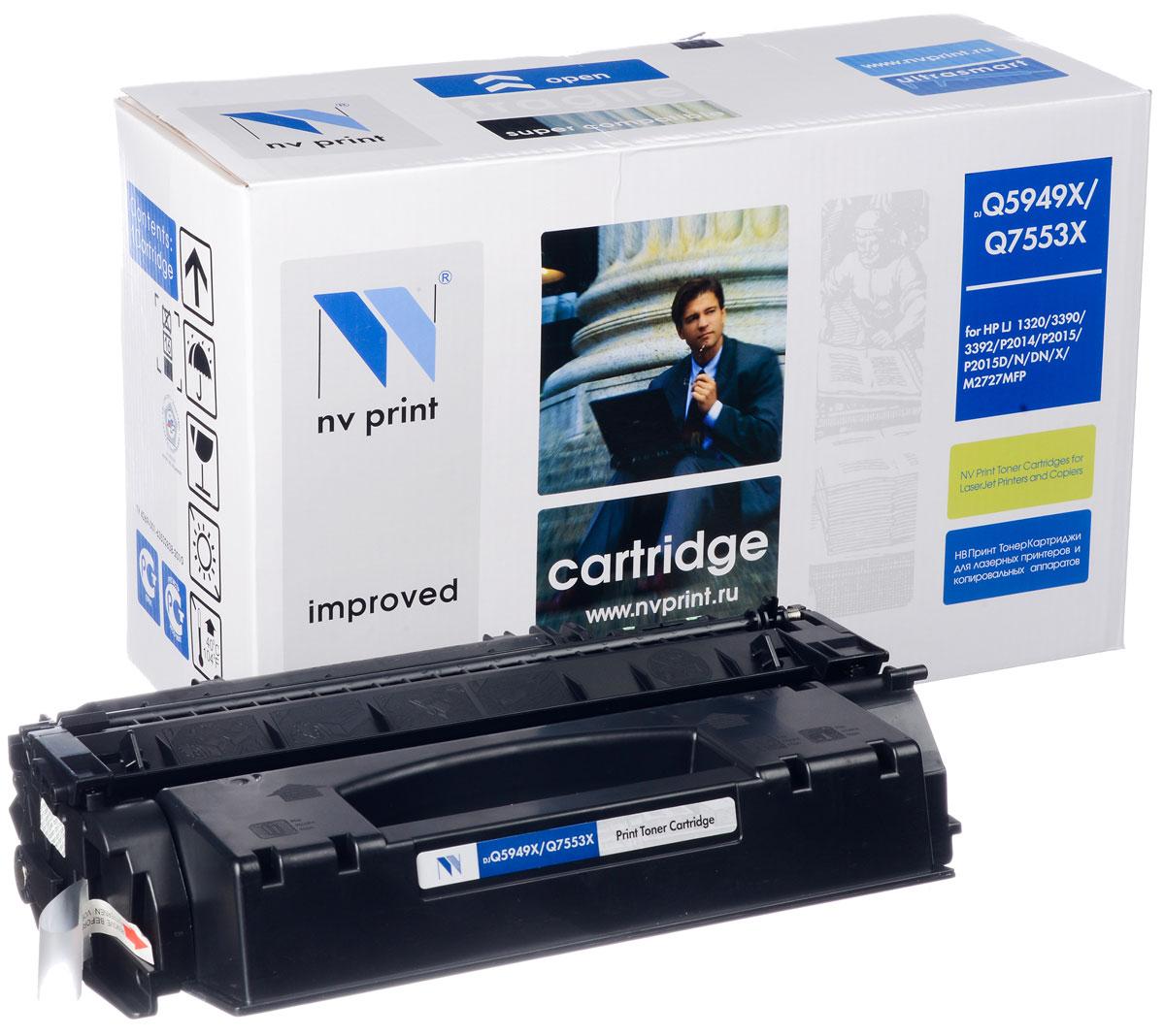 NV Print NV-Q5949X/Q7553X, Black тонер-картридж для HP LaserJet 1320/3390/3392/P2014/P2015/P2015N/P2015D/P2015DN/P2015X/M2727MFPNV-Q5949X/Q7553XСовместимый лазерный картридж NV Print NV-Q5949X/Q7553X для печатающих устройств HP - это альтернатива приобретению оригинальных расходных материалов. При этом качество печати остается высоким. Картридж обеспечивает повышенную чёткость чёрного текста и плавность переходов оттенков серого цвета и полутонов, позволяет отображать мельчайшие детали изображения. Лазерные принтеры, копировальные аппараты и МФУ являются более выгодными в печати, чем струйные устройства, так как лазерных картриджей хватает на значительно большее количество отпечатков, чем обычных. Для печати в данном случае используются не чернила, а тонер.