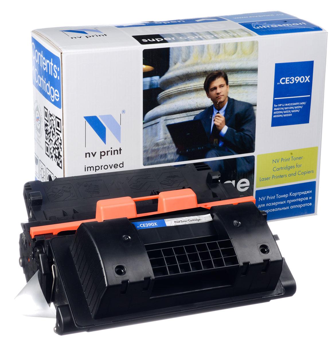 NV Print NV-CE390X, Black тонер-картридж для HP LaserJet M4555MFP/600/M601N/601DN/602N/602DN/602X/603N/603DN/603XHNV-CE390XСовместимый лазерный картридж NV Print NV-CE390X для печатающих устройств HP - это альтернатива приобретению оригинальных расходных материалов. При этом качество печати остается высоким. Картридж обеспечивает повышенную чёткость чёрного текста и плавность переходов оттенков серого цвета и полутонов, позволяет отображать мельчайшие детали изображения. Лазерные принтеры, копировальные аппараты и МФУ являются более выгодными в печати, чем струйные устройства, так как лазерных картриджей хватает на значительно большее количество отпечатков, чем обычных. Для печати в данном случае используются не чернила, а тонер.