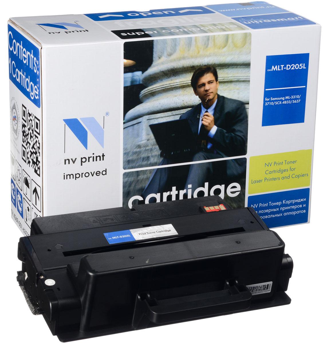 NV Print NV-MLTD205L, Black тонер-картридж для Samsung ML-3310/ML-3710/SCX-4833/SCX-5637NV-MLTD205LСовместимый лазерный картридж NV Print NV-MLTD205L для печатающих устройств Samsung - это альтернатива приобретению оригинальных расходных материалов. При этом качество печати остается высоким. Картридж обеспечивает повышенную чёткость чёрного текста и плавность переходов оттенков серого цвета и полутонов, позволяет отображать мельчайшие детали изображения. Лазерные принтеры, копировальные аппараты и МФУ являются более выгодными в печати, чем струйные устройства, так как лазерных картриджей хватает на значительно большее количество отпечатков, чем обычных. Для печати в данном случае используются не чернила, а тонер.