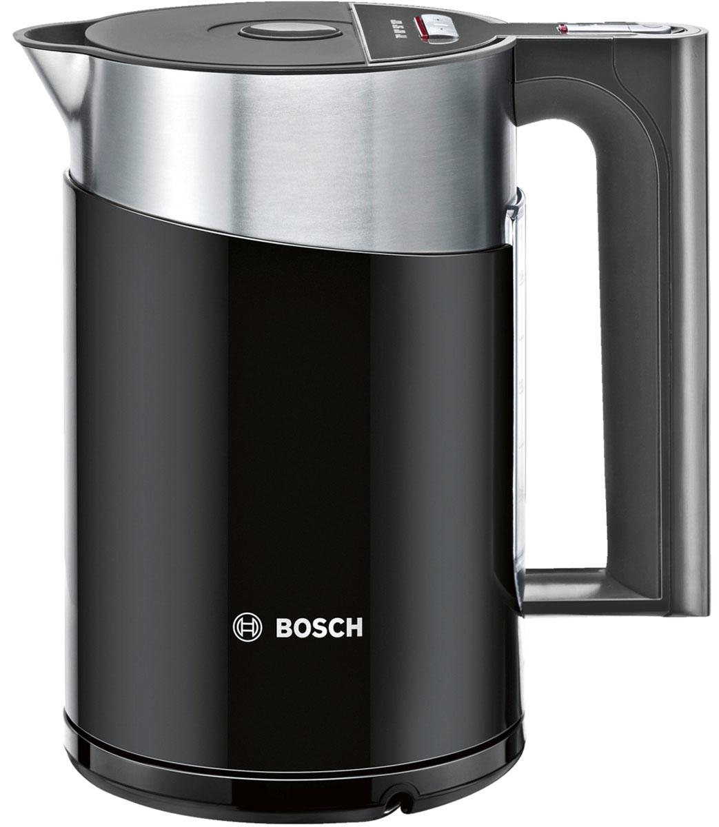Bosch TWK 861P3RU электрочайникTWK 861P3RUЭлектрочайник Bosch TWK 861P3RU для любителей чая и ценителей эстетики. Регулировка температуры TemperatureControl позволяет выбрать оптимальную температуры нагрева воды 70°C, 80°C, 90°C или 100 °С. Функция поддержания температуры воды KeepWarm Function поддерживает заданную температуру в течение 30 минут. Легкий в управлении: крышка открывается нажатием кнопки.