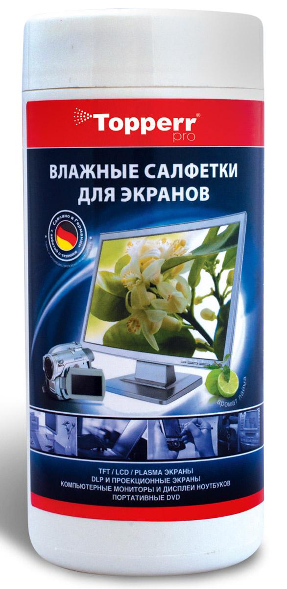 Topperr 3021 Pro чистящие салфетки для экранов, 100 шт3021Влажные салфетки для экранов в тубусе Topperr 3021 Pro для повседневного ухода за экранами мониторов, ноутбуков, цифровых фоторамок, оптическими поверхностями фото- и видео- техники. Бережно убирают частички грязи и пыли, не оставляют ворсинок и разводов. Влажные салфетки разработаны лучшими европейскими экспертами, изготовлены из высококачественного биоразлагаемого материала. Обладают приятным ароматом лайма. Защищают Вашу бытовую технику и продлевают срок ее службы.