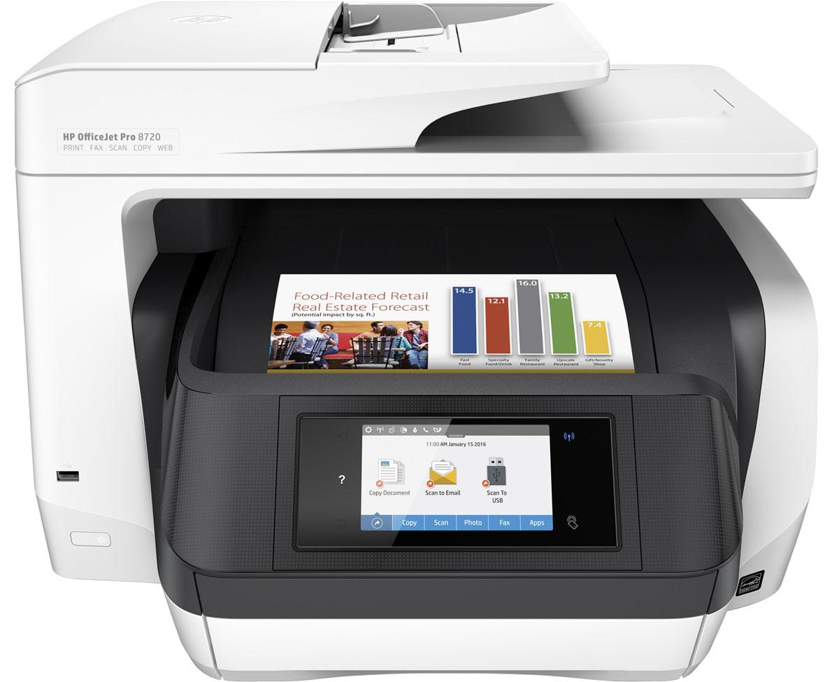 HP Officejet Pro 8720 МФУ (D9L19A)D9L19AМФУ HP Officejet Pro 8720 отвечает всем требованиям современных офисов. Контролируйте расходы благодаря доступной цветной печати профессионального качества. Экономьте бумагу и поддерживайте производительность на стабильно высоком уровне благодаря быстрой двусторонней печати и функциям, предназначенным специально для больших объемов офисных задач. Превосходный уровень профессиональной офисной цветной печати Экономьте на цветной печати профессионального качества благодаря практически вдвое меньшей стоимости одной страницы по сравнению с лазерными принтерами. Дополнительные оригинальные картриджи HP увеличенной емкости позволяют в три раза увеличить объем печати. Оцените профессиональное качество цветной и черно-белой печати отчетов, писем и многого другого. Выполняйте печать документов, устойчивых к воздействию влаги, смазыванию, выцветанию и выделению маркером. Инновационная конструкция обеспечивает непревзойденную...