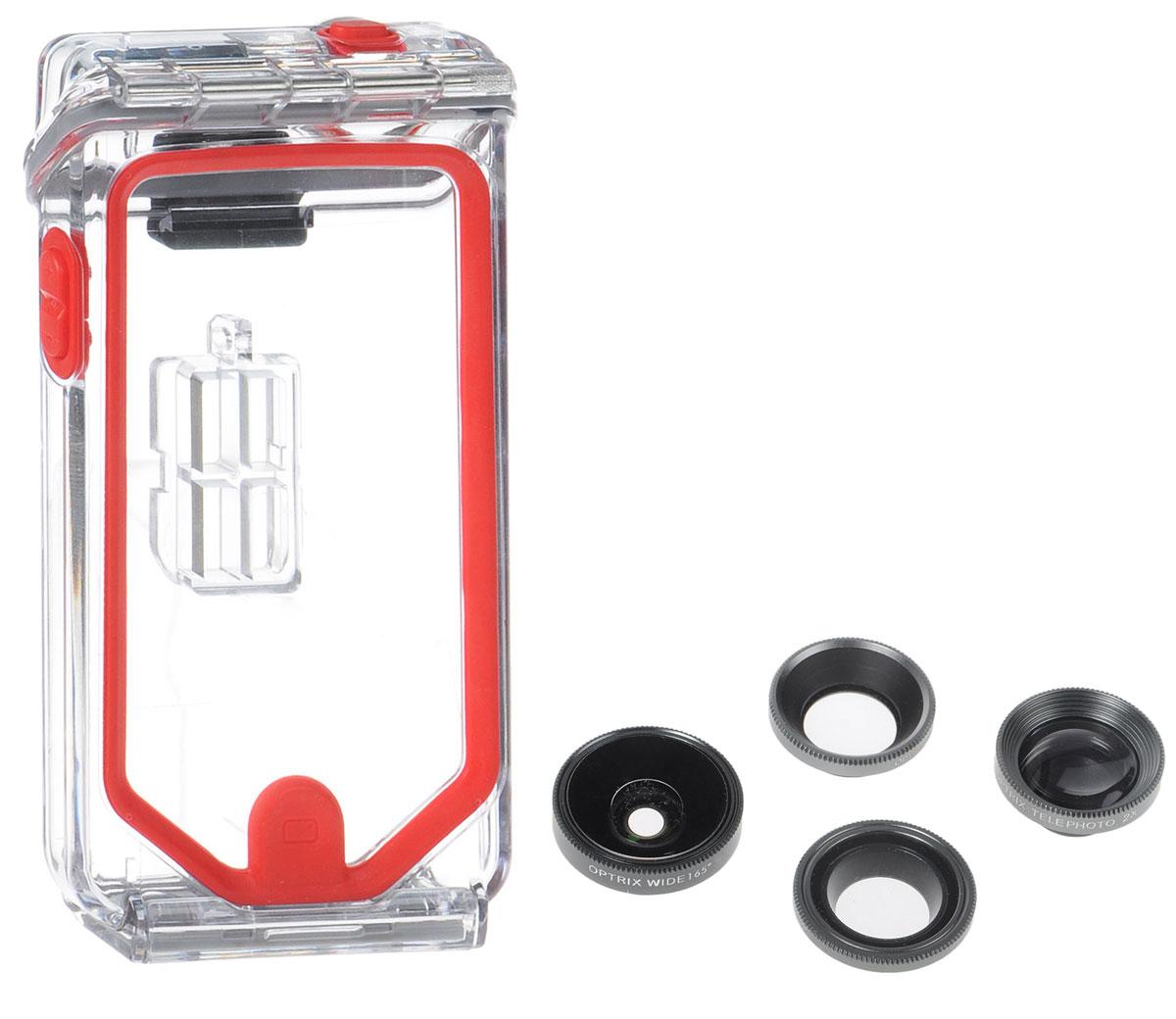 Optrix Photo Pro FS-94678 чехол для Apple iPhone 5/5s/SE с комплектом аксессуаров для фотосъемкиFS-94678Optrix Photo Pro FS-94678 - набор для создания уникальных фотографий и видео при помощи вашего iPhone 5/5s/SE. Ультралегкий защитный корпус обеспечит сохранность устройства в любых экстремальных условиях, тогда как сменные линзы значительно расширят возможности его камеры. Чехол отличается надежной конструкцией, превращающей ваш iPhone в полноценную экшн-камеру: съемка во время сплава по реке, велопрогулки, катания на лыжах, пляжного отдыха - все это возможно теперь при помощи Apple iPhone 5/5s/SE. 100% водонепроницаемость при погружении на глубину до 4,5 м (соответствует стандарту IP68) Ударопрочность: выдерживает падение с высоты до 6,1 м (соответствует стандарту MIL-STD-810G) Сверхпрочный корпус, сохраняющий весь функционал смартфона Специальная защитная мембрана сохраняет все свойства сенсорного экрана Подходит к широкому ассортименту креплений