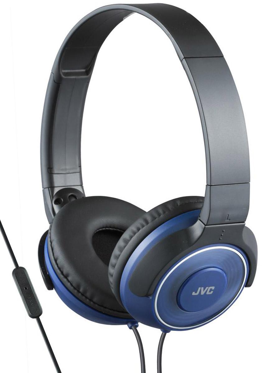 JVC HA-SR225-A, Blue наушникиHA-SR225-AПортативные наушники JVC HA-SR225-A с проводным ПДУ с микрофоном для приема звонков. Превосходный звук с фазоинверторными портами и высококачественной 30 мм динамической головкой с неодимовыми магнитами. Удобные и мягкие амбушюры для качественной звуко-изоляции, легкий вес наушников обеспечивает комфорт во время прослушивания. Прочный кабель длиной 1,2 метра оснащен позолоченным тонким штекером L-типа, также совместимым с iPhone.