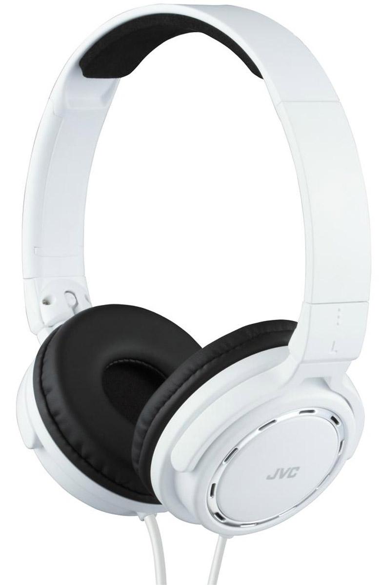 JVC HA-S520-W, White наушникиHA-S520-WКомпактные, легкие накладные наушники JVC HA-S520-W. Качественный звук с кольцевыми портами, динамическая головка с 36 мм диафрагмой и неодимовыми магнитами. Удобные и мягкие амбушюры для качественной звуко-изоляции и максимального комфорта. Мягкое оголовье для идеальной посадки. Прочный кабель длиной 1,2 метра оснащен позолоченным тонким штекером L-типа, также совместимым с iPhone.