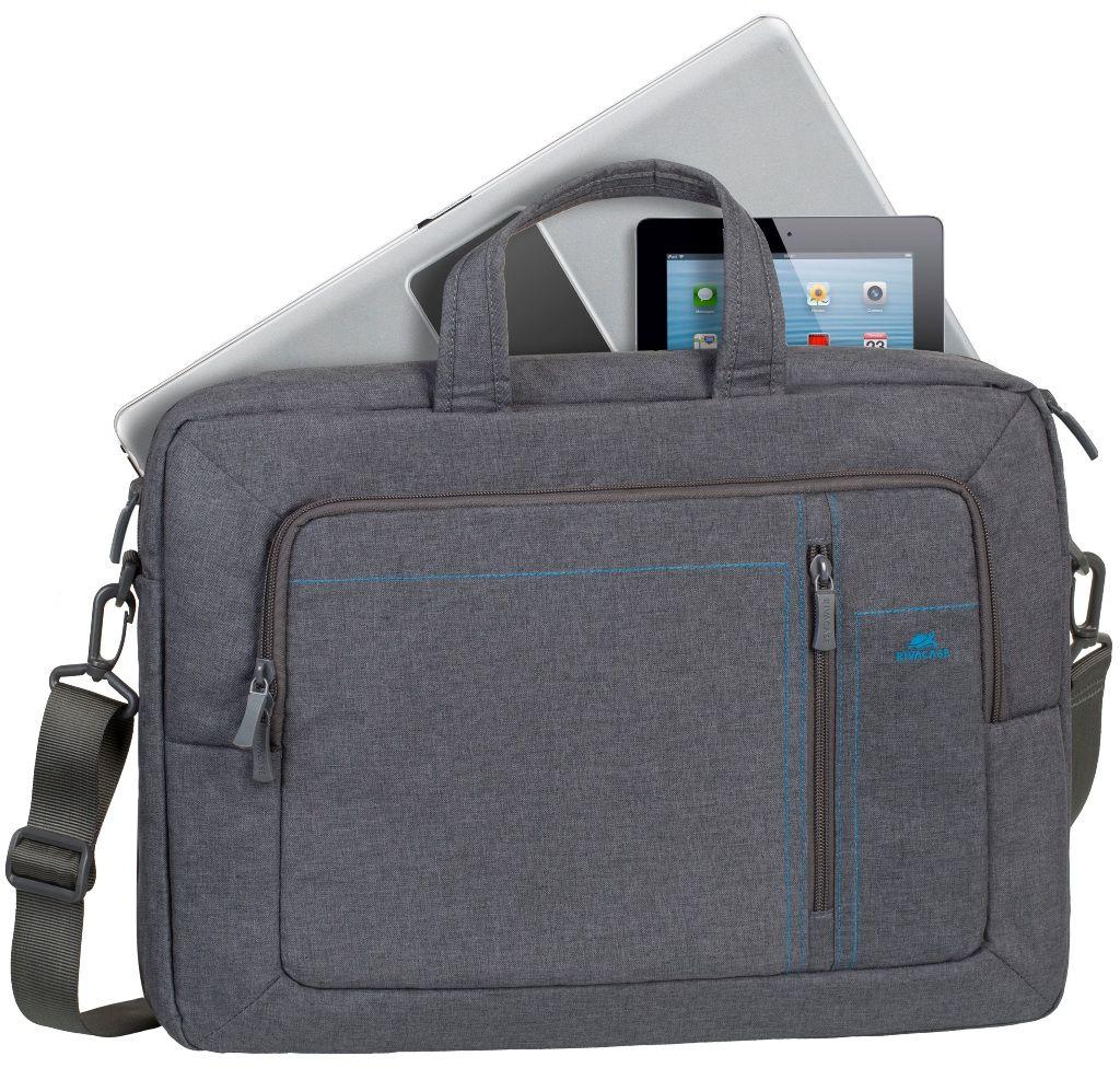 Riva 7590, Grey сумка-трансформер для ноутбука 166642Сумка-трансформер Riva 7590 из высококачественной, водоотталкивающей ткани. Трансформер можно носить в руках или на плече, а за счет убирающихся ручек и вынимающихся наплечных ремней он легко превращается в рюкзак. Основное отделение для ноутбука имеет мягкие стенки и ремень для надежной фиксации ноутбука до 16. Также есть дополнительное отделение для планшета, аксессуаров, документов, смартфона. Внешний передний карман на молнии оборудован панелью-органайзером для хранения визитных карт, авторучек, смартфона, аксессуаров. Имеются вынимающиеся и регулируемые по длине наплечные ремни со смягчающими подкладками. Удобные ручки и регулируемый по длине плечевой ремень позволяют чувствовать себя комфортно.