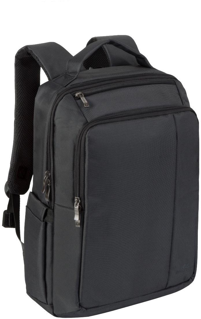 Riva 8262, Black рюкзак для ноутбука 15,66695Riva 8262 - рюкзак для деловых поездок и туристических путешествий. Он изготовлен из плотного синтетического материала и имеет утолщенные стенки для лучшей защиты ноутбука от случайных ударов и царапин, а также от пыли и влаги. Основное отделение с вертикальной загрузкой имеет мягкие стенки и ремень для надежной фиксации ноутбука до диагонали 15.6 и просторную секцию для хранения книг и документов. Также имеется дополнительное внутреннее отделение для планшета с диагональю до 10.1. Передний карман на молнии предназначен для хранения аксессуаров, зарядного устройства. Он оборудован органайзером для хранения визитных карт, авторучек, смартфона. Удобная мягкая ручка для переноски и наплечные ремни со смягчающими подкладками помогут чувствовать себя комфортно в самом долгом путешествии. На задней стенке имеется ремень крепления к багажной сумке На верхней панели карман на молнии для смартфона, 7 планшета Два боковых кармана для ёмкостей с...