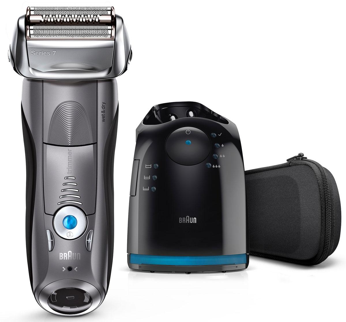 Braun Series 7 7865cc Wet&Dry, Grey электробритва81576297Braun Series 7 7865cc Wet&Dry - умная бритва, которая считывает ваше лицо и адаптирует свою мощность к густоте щетины. 4 специальных бреющих элемента захватывают больше волосков одним движением, обеспечивая гладкое и комфортное бритье без компромиссов. Преимущества: 5 режимов бритья, от чувствительного до турбо, позволяют подобрать оптимальный для вашего типа кожи и предпочтений Бреющие элементы позволяют уменьшить количество движений и раздражение кожи. В комплект входит четырехэтапная станция очистки и подзарядки Clean&Charge, которая после одного нажатия кнопки тщательно очищает и смазывает бритву, обновляя ее.