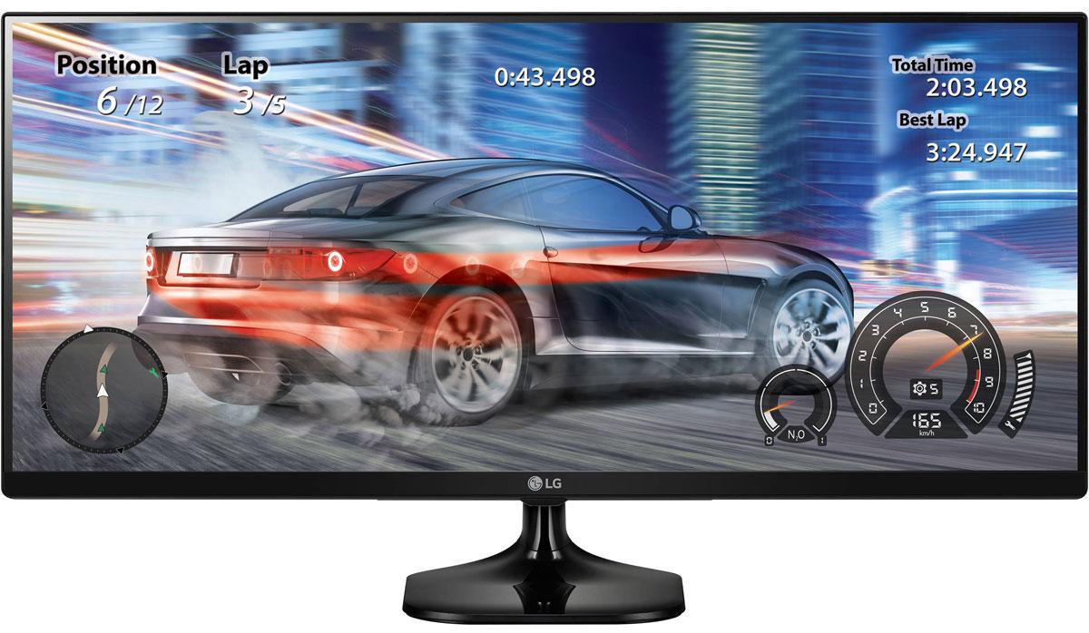 LG 25UM58-P, Black монитор25UM58-PМонитор LG 25UM58-P оснащен широким экраном формата 21:9, он позволяет по-настоящему окунуться в происходящее на экране благодаря более широкому обзору. Использование качественной IPS матрицы гарантирует отсутствие цветовых искажений. Предустановленные режимы изображения - Режим Игра, Режим FPS и Режим RTS - помогают оптимально настроить изображение на экране, исходя из специфики игрового жанра. Быстрое переключение между игровыми режимами доступно из меню Quick Circle. Функция Стабилизатор черного поможет улучшить видимость даже в самых темных игровых сценах. Дополнительно технология Dynamic Action Sync позволяет сделать игровой процесс более динамичным и захватывающим, минимизируя лаги и задержки вывода сигнала. Использование IPS матрицы и поддержка >99% цветового поля sRGB позволяет минимизировать возможные цветовые потери для максимально эффективной работы с графикой и фото. Функция Экранного меню облегчит настройку...