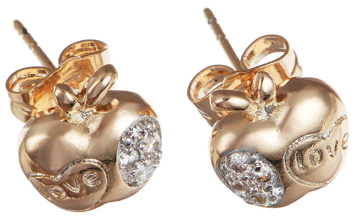 Серьги Taya, цвет: золотистый. T-B-11653T-B-11653-EARR-GOLDМодные позолоченные серьги-гвоздики Taya выполнены в виде яблочка изготовлены из бижутерного сплава, оформлены цирконами. Изделие застегивается с помощью замка-гвоздика и металлической заглушки. Оригинальные серьги внесут изюминку, как в повседневный, так и в выходной образ и позволят выделиться среди окружающих.