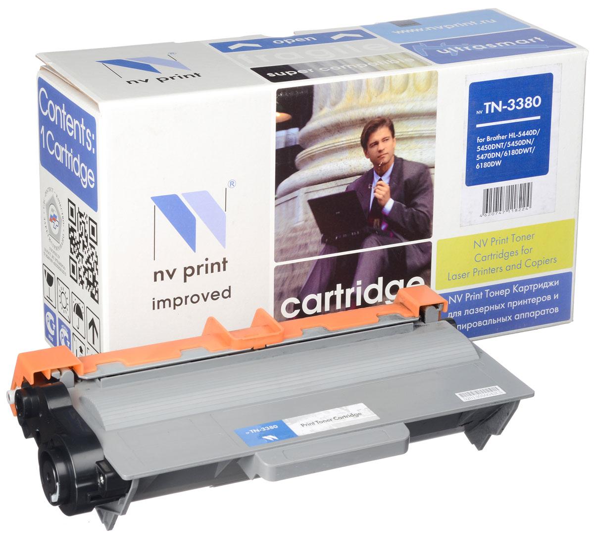 NV Print TN3380, Black тонер-картридж для Brother HL-5440D/5450DN/5470DW/6180DW/DCP8110/8250/MFC8520/8950NV-TN3380Совместимый лазерный картридж NV Print TN3380 для печатающих устройств Brother - это альтернатива приобретению оригинальных расходных материалов. При этом качество печати остается высоким. Картридж обеспечивает повышенную чёткость чёрного текста и плавность переходов оттенков серого цвета и полутонов, позволяет отображать мельчайшие детали изображения. Лазерные принтеры, копировальные аппараты и МФУ являются более выгодными в печати, чем струйные устройства, так как лазерных картриджей хватает на значительно большее количество отпечатков, чем обычных. Для печати в данном случае используются не чернила, а тонер.
