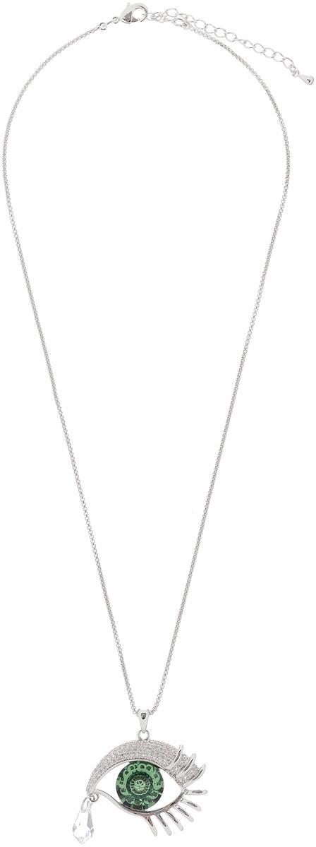 Кулон женский Vera Victoria Vito, цвет: серебряный, зеленый. 2101418A0722101418A072Оригинальный кулон Vera Victoria Vito идеально дополнит ваш образ. Изделие выполнено из серебра и дополнено подвеской в виде глаза со слезой с кристаллами Swarovski. Цепочка застегивается на надежную застежку-карабин и регулируется по длине с помощью дополнительных звеньев. Такой изысканный аксессуар идеально завершит ваш образ и подчеркнет вашу индивидуальность.