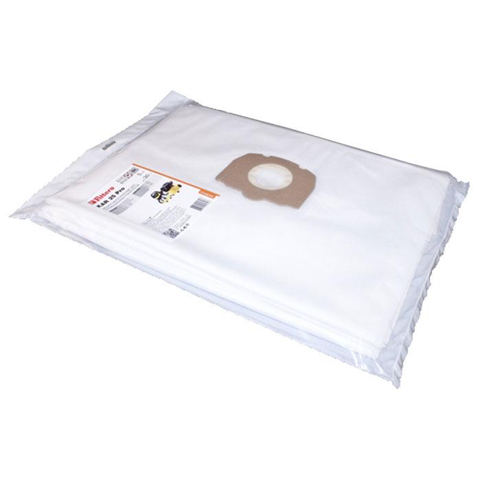 Filtero KAR 25 Pro комплект пылесборников для промышленных пылесосов, 5 штKAR 25 (5) ProТрехслойные мешки для промышленных пылесосов Filtero KAR 25 Pro произведены из синтетического микроволокна MicroFib. Их прочность превосходит любые бумажные мешки-аналоги, даже если это оригинальные бумажные мешки всемирно известных марок. Вы можете быть уверены: заклепки, гвозди, шурупы, битое стекло, острые камни не смогут прорвать мешки Filtero Pro. Они также не боятся влаги. Мешки Filtero Pro предназначены для уборки пыли классов М.