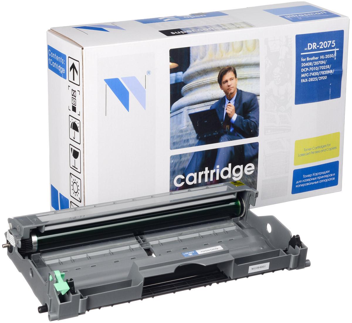 NV Print DR2075, Black фотобарабан для Brother HL2030/2040R/2070N/DCP7010/7025R/MFC7420/7820NR/FAX2825/2920NV-DR2075Совместимый лазерный картридж NV Print DR2075 для печатающих устройств Brother - это альтернатива приобретению оригинальных расходных материалов. При этом качество печати остается высоким. Картридж обеспечивает повышенную чёткость чёрного текста и плавность переходов оттенков серого цвета и полутонов, позволяет отображать мельчайшие детали изображения. Лазерные принтеры, копировальные аппараты и МФУ являются более выгодными в печати, чем струйные устройства, так как лазерных картриджей хватает на значительно большее количество отпечатков, чем обычных. Для печати в данном случае используются не чернила, а тонер.