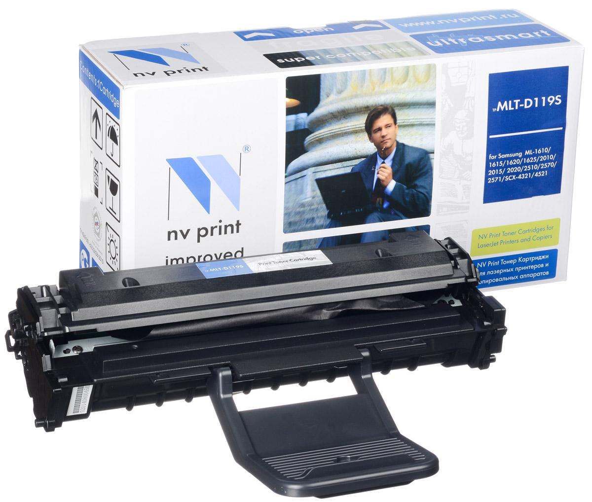 NV Print MLTD119S, Black тонер-картридж для Samsung ML-1610/1615/1620/1625/ML-2010/2015/2020/ 2510/2570/2571/SCX-4321/4521NV-MLTD119SСовместимый лазерный картридж NV Print MLTD119S для печатающих устройств Samsung - это альтернатива приобретению оригинальных расходных материалов. При этом качество печати остается высоким. Картридж обеспечивает повышенную чёткость чёрного текста и плавность переходов оттенков серого цвета и полутонов, позволяет отображать мельчайшие детали изображения. Лазерные принтеры, копировальные аппараты и МФУ являются более выгодными в печати, чем струйные устройства, так как лазерных картриджей хватает на значительно большее количество отпечатков, чем обычных. Для печати в данном случае используются не чернила, а тонер.