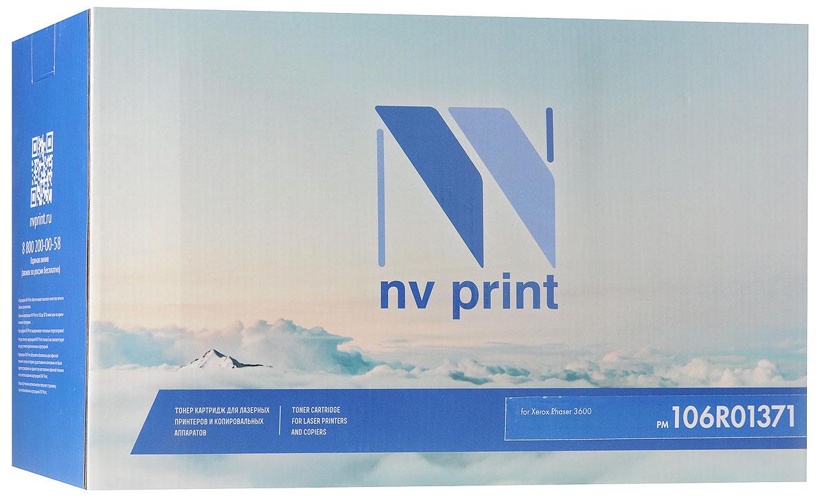 NV Print 106R01371, Black тонер-картридж для Xerox Phaser 3600NV-106R01371Совместимый лазерный картридж NV Print 106R01371 для печатающих устройств Xerox - это альтернатива приобретению оригинальных расходных материалов. При этом качество печати остается высоким. Картридж обеспечивает повышенную чёткость чёрного текста и плавность переходов оттенков серого цвета и полутонов, позволяет отображать мельчайшие детали изображения. Лазерные принтеры, копировальные аппараты и МФУ являются более выгодными в печати, чем струйные устройства, так как лазерных картриджей хватает на значительно большее количество отпечатков, чем обычных. Для печати в данном случае используются не чернила, а тонер.