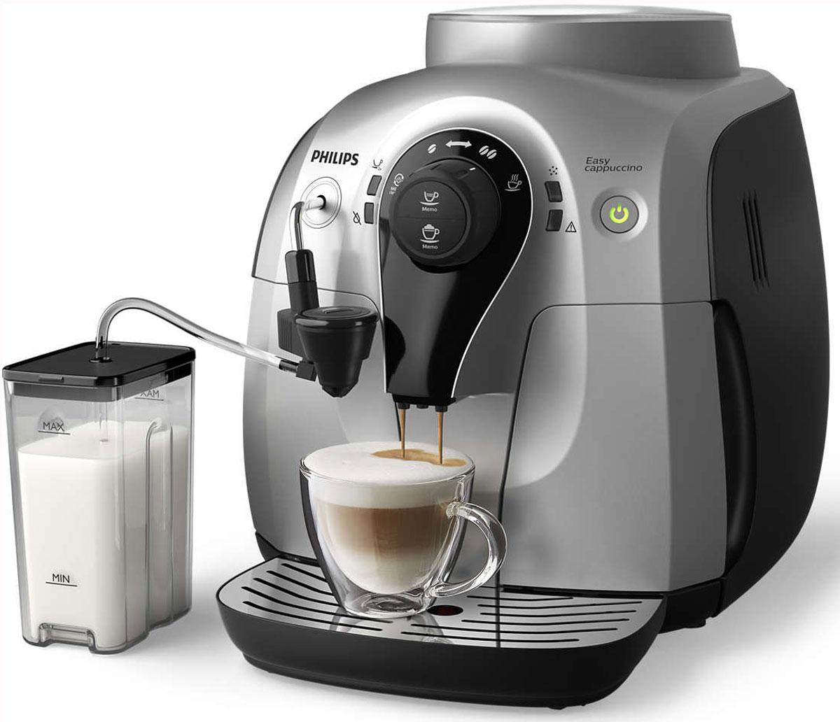 Philips HD8654/59, Silver Black кофемашинаHD8654/59Philips HD8654/59 - это горячий эспрессо, кофе и капучино одним нажатием кнопки Вы можете приготовить чашку превосходного эспрессо из свежемолотых кофейных зерен всего за несколько секунд, просто нажав на кнопку. А благодаря новой системе Easy Cappuccino готовить капучино стало невероятно просто — достаточно нажать соответствующую кнопку. Кроме того, вы можете сварить одновременно две чашки кофе с помощью специальной функции. Надежные керамические жернова кофемолки обеспечивают долгий срок службы и качественную работу Керамический материал устойчив к износу, обеспечивает долгий срок службы и бесшумную работу. Это значит, что качество помола кофе будет оставаться неизменно превосходным при приготовлении более чем 15 000 чашек кофе, в которых сохранится весь аромат кофейных зерен. Горячий кофе с первой чашки благодаря быстрому нагреву бойлера Забудьте о едва теплом кофе. Бойлер кофемашины Philips HD8654/59 быстро нагревается, поэтому...