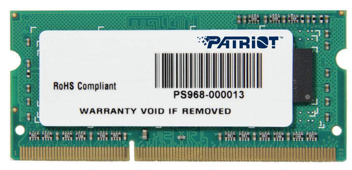 Patriot DDR3 SO-DIMM 4GB 1333МГц модуль оперативной памяти (PSD34G133381S)PSD34G133381SНебуферезированная память Patriot DDR3 SO-DIMM PSD34G133381S предоставляет качество работы, надежность и производительность, требуемую для современных ноутбуков сегодня. Этот модуль емкостью 4 ГБ, спроектирован для работы на частоте 1333 МГц PC3-10600 при таймингах CAS 9. Модуль собран при использовании специальных компонентов.
