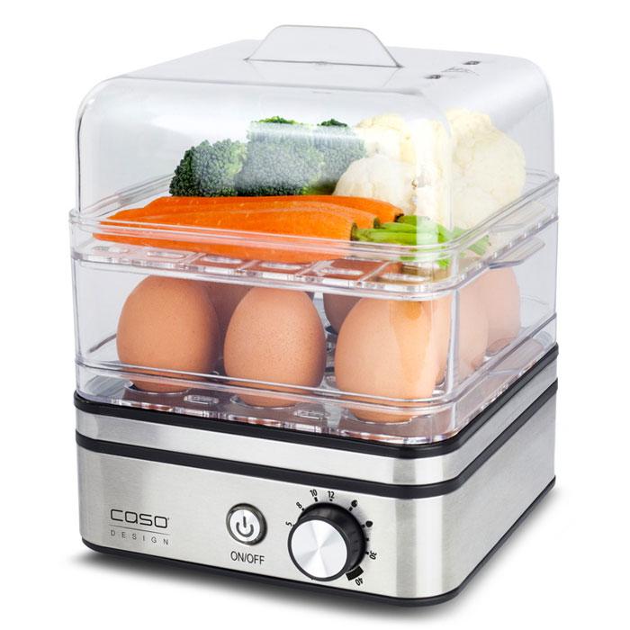 CASO ED 10, Silver яйцеваркаED 10Яйцеварка CASO ED 10 предназначена для приготовления до 8 яиц, а также в качестве пароварки для бережного приготовления рыбы, овощей, картофеля и других продуктов. Электронное регулирование времени приготовления Защита от выкипания Антипригарное покрытие варочной емкости Прозрачная пластиковая крышка Звуковой сигнал по окончании времени приготовления