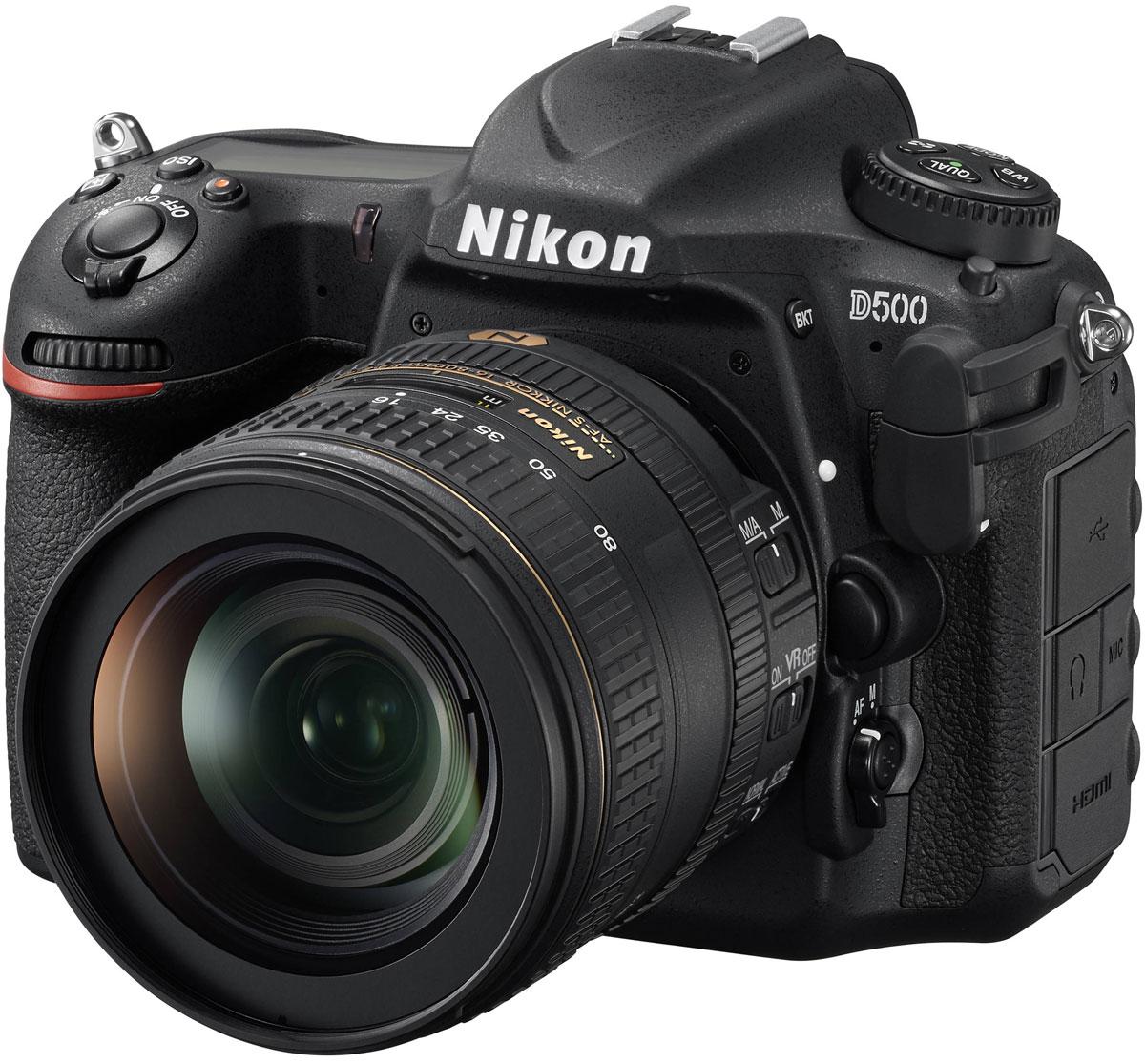 Nikon D500 Kit 16-80mm, Black цифровая зеркальная камераVBA480K001Фотокамера Nikon D500, младшая сестра флагманской модели D5 формата FX, демонстрирует непревзойденное сочетание мощности и точности. Разработанная корпорацией Nikon 153-точечная система АФ нового поколения позволяет работать в самых разных условиях съемки. Новая матрица и датчик для замера экспозиции обеспечивают исключительно точное распознавание объектов съемки и деталей изображения. Скорость съемки может составлять до 10 кадров в секунду, а быстрый буфер памяти позволяет снять до 200 изображений в формате NEF (RAW) в одной высокоскоростной серии. Модель выполняет фокусировку с абсолютной точностью, даже практически в полной темноте. Эта феноменальная система АФ со 153 точками фокусировки и 99 датчиками перекрестного типа обеспечивает непревзойденное покрытие, охватывая практически всю ширину поля видоискателя. Благодаря понижению порога чувствительности АФ до -4 EV в центральной точке и до -3 EV (ISO 100, 20 °C) для всех остальных точек ...