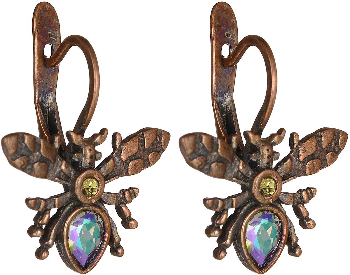 Серьги женские Jenavi Кассида Мэй, цвет: медный, фиолетовый. k335u153k335u153Серьги Jenavi Кассида Мэй выполнены из металла в виде жуков. Изделие застегивается с помощью удобного английского замка. Дополнены серьги вставками из кристаллов Swarovski. Эти сережки придутся по вкусу любительнице стильных аксессуаров.