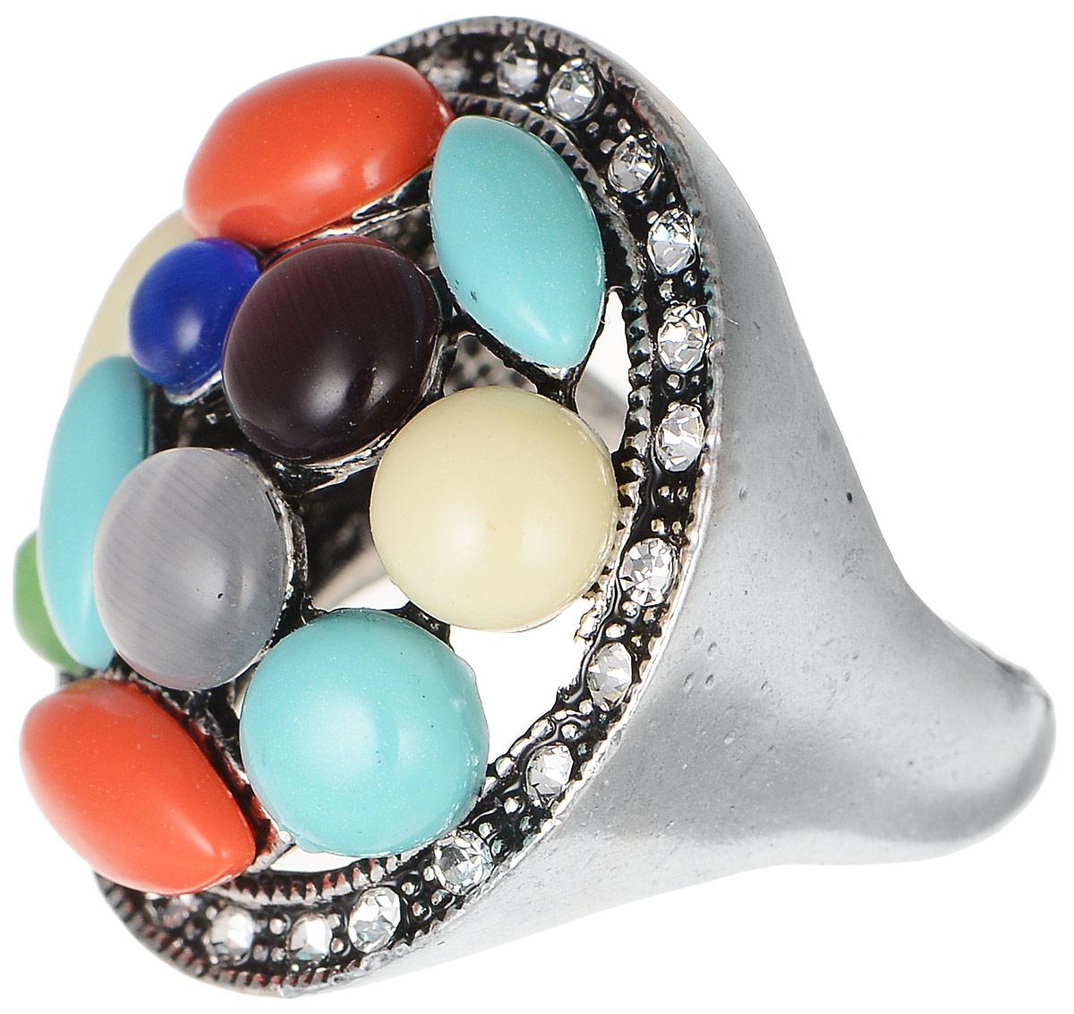 Кольцо Polina Selezneva, цвет: серебряный, мультиколор. DG-0040DG-0040Стильное кольцо Polina Selezneva изготовлено из качественного металлического сплава. Декоративная часть оформлена вставками из ювелирной смолы и страз.