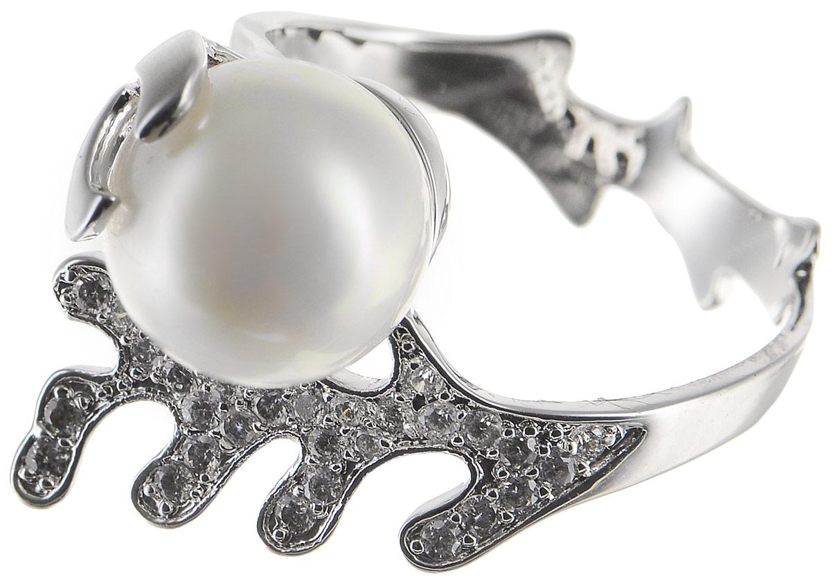 Кольцо Polina Selezneva, цвет: серебристый, белый. DG-0091. Размер 19DG-0091-19Стильное кольцо Polina Selezneva изготовлено из качественного металлического сплава. Декоративная часть выполнена в оригинальной форме и оформлена искусственным жемчугом и стразами.
