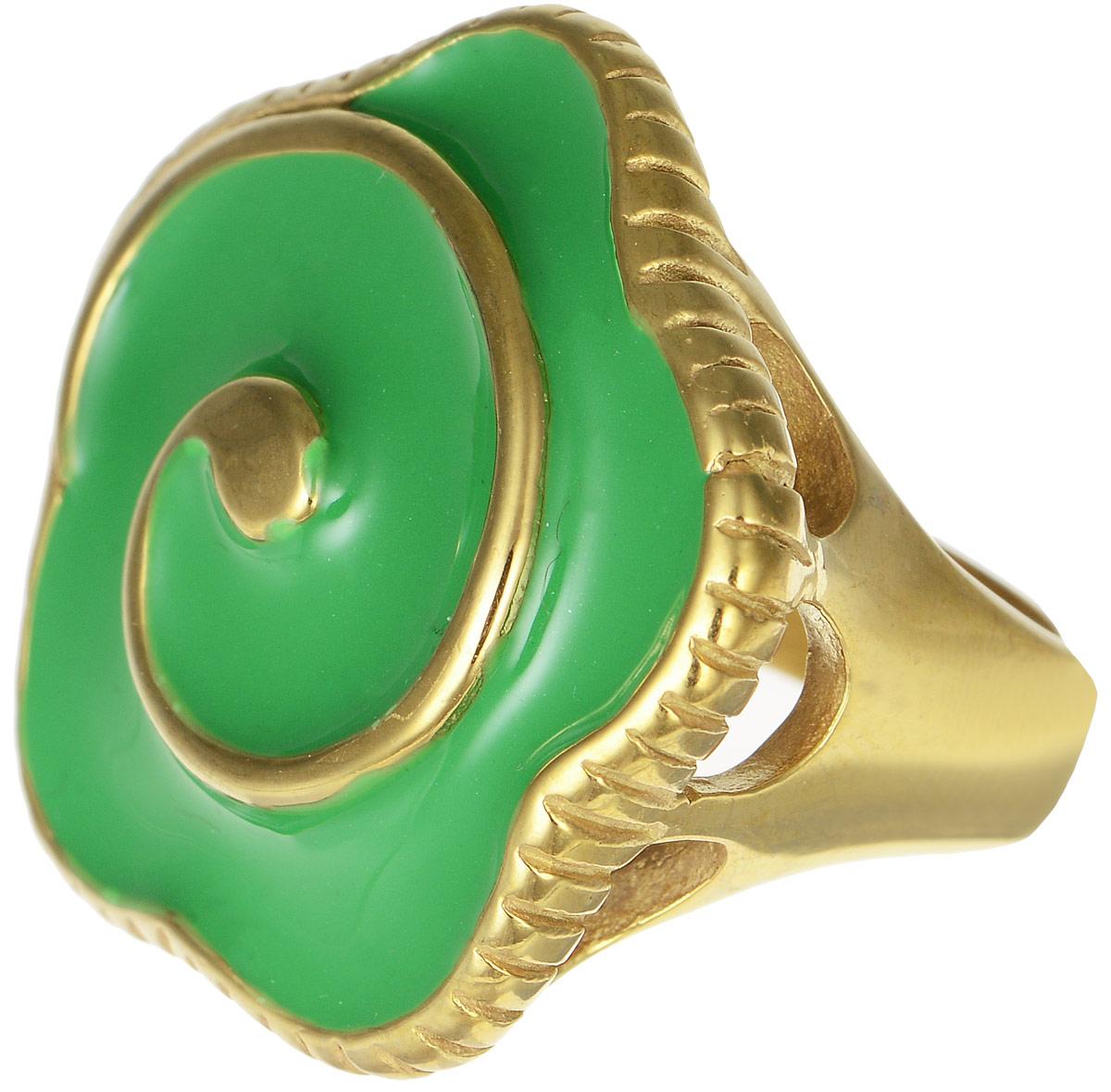 Кольцо Polina Selezneva, цвет: золотистый, зеленый. DG-0032. Размер 19DG-0032-09Оригинальное кольцо Polina Selezneva выполнено из металлического сплава. Оформлено изделие в форме цветка. Декоративная часть покрыта эмалью. Такое кольцо это блестящее завершение вашего неповторимого, смелого образа и отличный подарок для ценительницы необычных украшений!