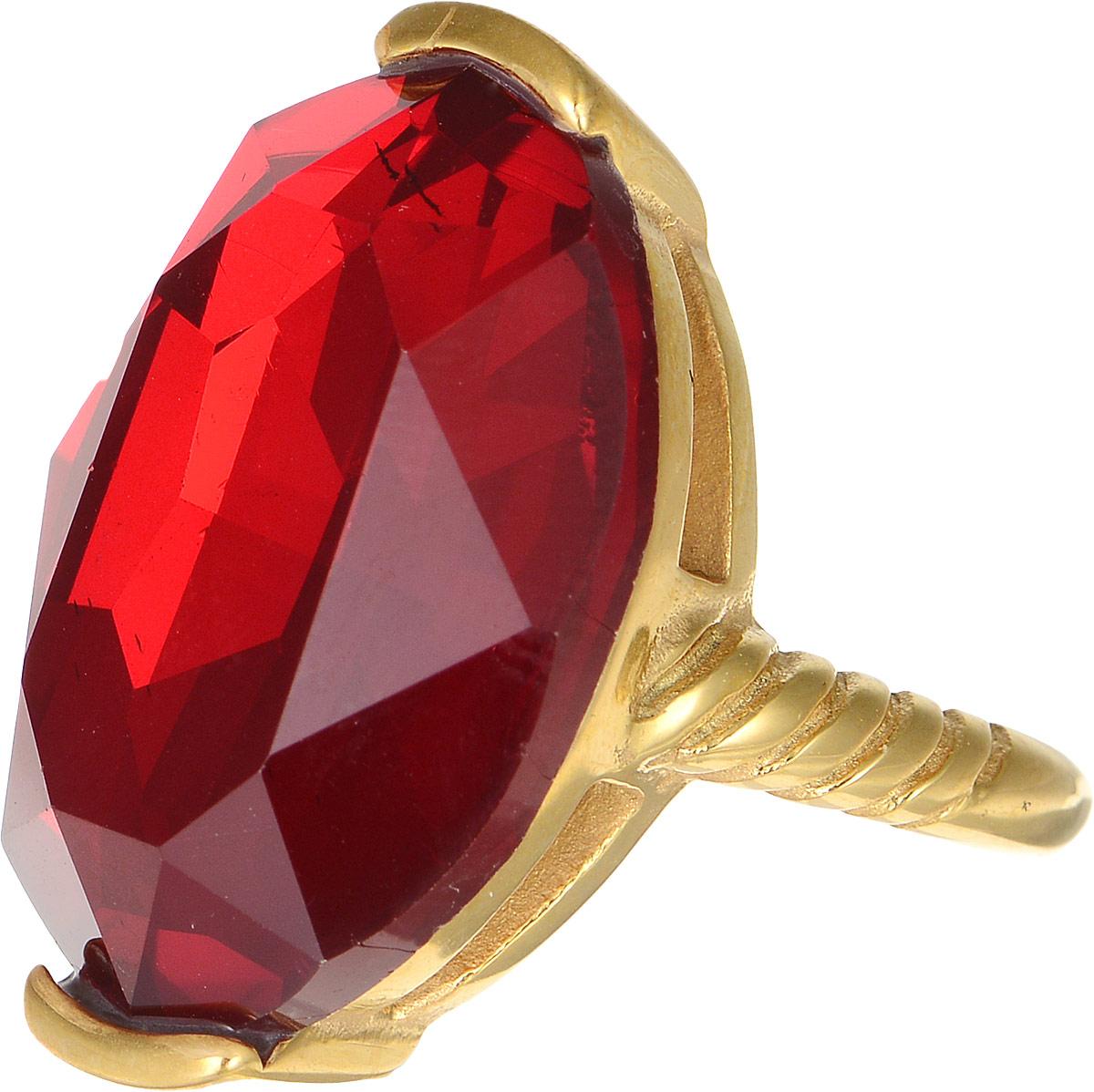 Кольцо Polina Selezneva, цвет: золотистый, красный. DG-0029. Размер 19DG-0029-09Оригинальное кольцо Polina Selezneva выполнено из металлического сплава. Оформлено изделие вставкой из хрустального стекла. Такое кольцо это блестящее завершение вашего неповторимого, смелого образа и отличный подарок для ценительницы необычных украшений!