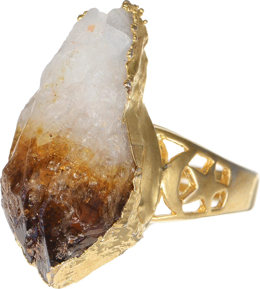 Кольцо Polina Selezneva, цвет: золотистый, коричневый, белый. DG-0049DG-0049Стильное кольцо Polina Selezneva изготовлено из качественного металлического сплава. Кольцо оформлено оригинальным камнем и резным узором.