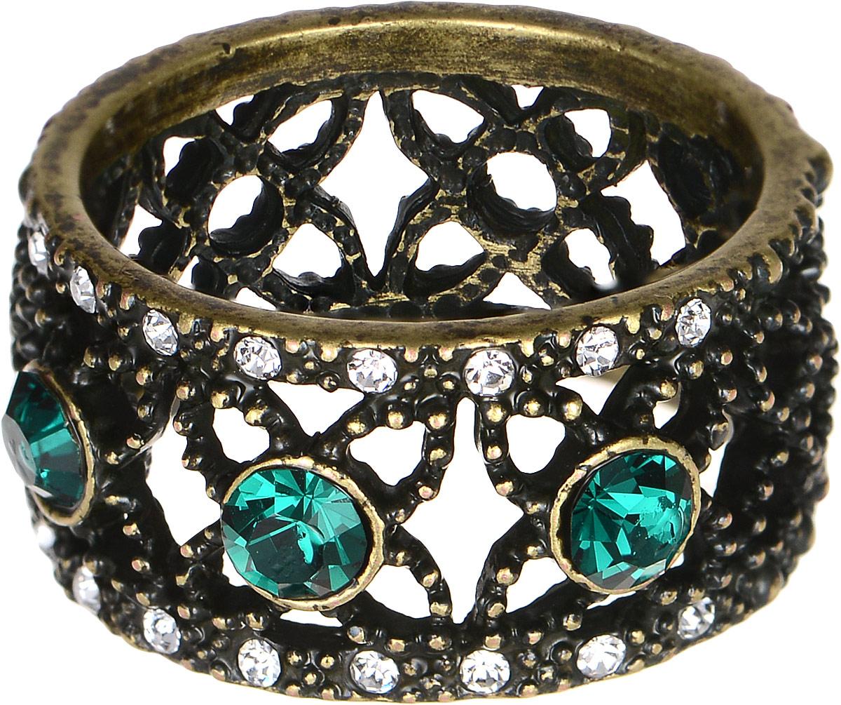 Кольцо Polina Selezneva, цвет: золотистый, зеленый. DG-0022. Размер 19DG-0022