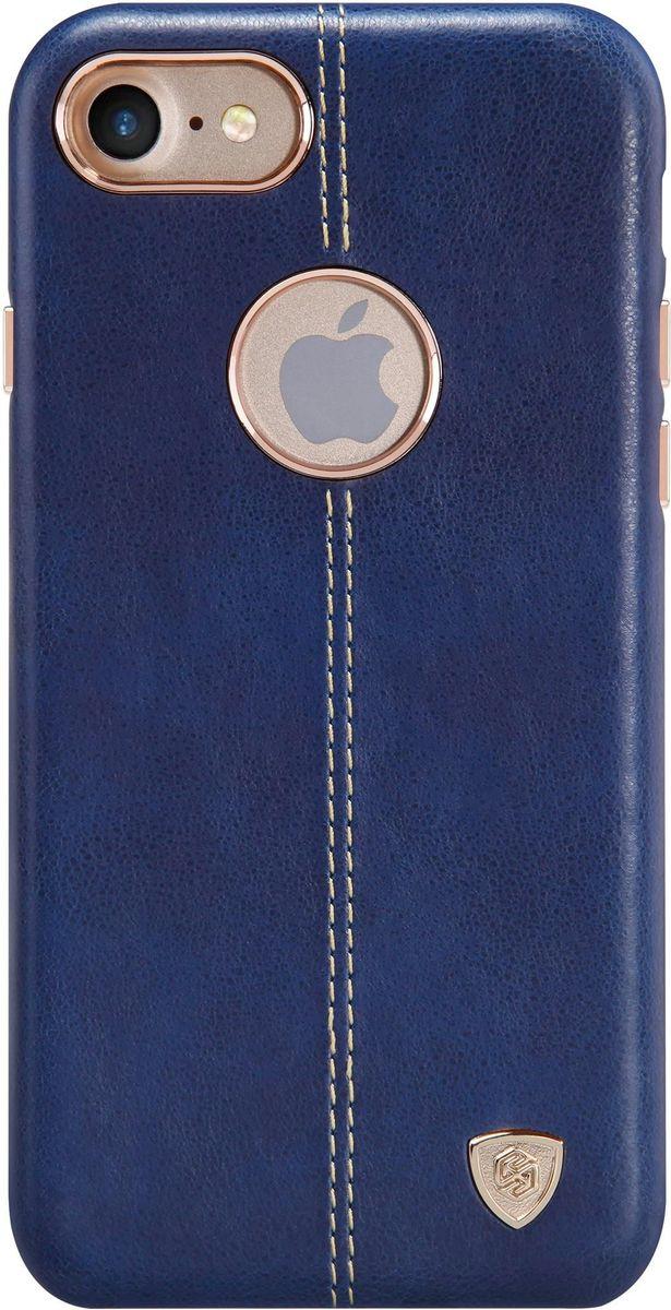 Nillkin Englon Leather Cover чехол для Apple iPhone 7, Blue2000000100265Чехол Nillkin Englon для Apple iPhone 7 надежно защищает ваш смартфон от внешних воздействий, грязи, пыли, брызг. Он также поможет при ударах и падениях, не позволив образоваться на корпусе царапинам и потертостям. Внутри чехла встроена магнитная площадка для крепления к магнитным держателям. Чехол обеспечивает свободный доступ ко всем функциональным кнопкам смартфона и камере.