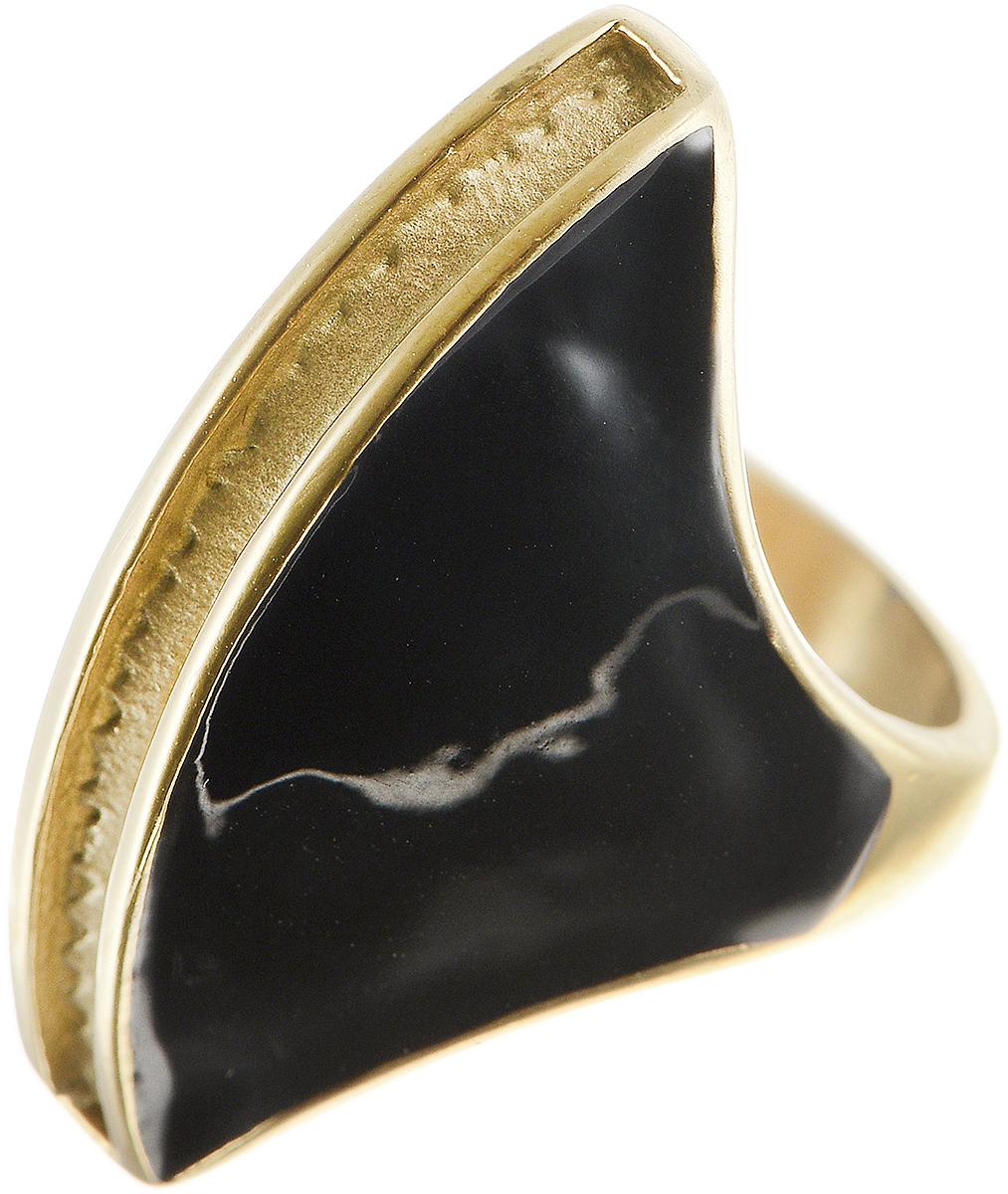 Кольцо Polina Selezneva, цвет: золотистый, черный. DG-0025. Размер 19DG-0025-09Стильное кольцо Polina Selezneva изготовлено из латуни и выполнено в оригинальном дизайне. Декоративная часть оформлена вставкой из эмали.