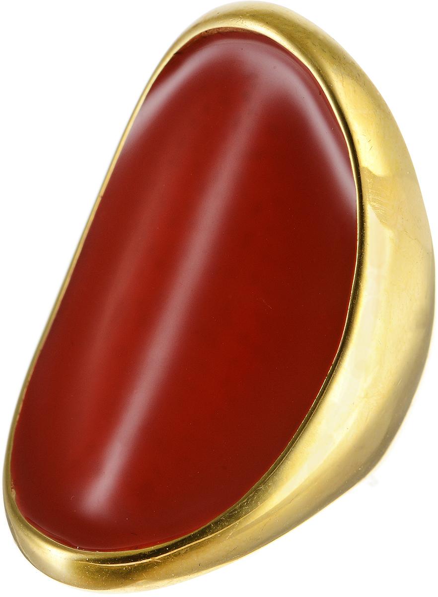 Кольцо Polina Selezneva, цвет: золотистый, красный. DG-0009. Размер 18DG-0009-08Оригинальное кольцо Polina Selezneva выполнено из металлического сплава. Изделие вогнутой формы, дополнено вставкой из эмали. Такое кольцо это блестящее завершение вашего неповторимого, смелого образа и отличный подарок для ценительницы необычных украшений!