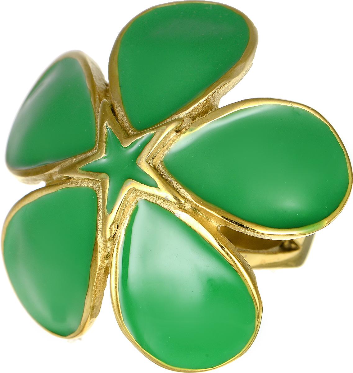Кольцо Polina Selezneva, цвет: золотистый, зеленый. DG-0004. Размер 19DG-0004-09Стильное кольцо Polina Selezneva изготовлено из качественного металлического сплава. Декоративная часть выполнена в виде цветка с покрытием из эмали.