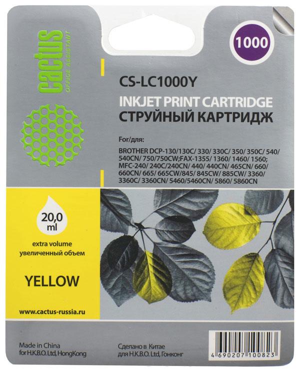 Cactus CS-LC1000Y, Yellow картридж струйный для Brother DCP 130C/330С/MFC-240C/5460CN