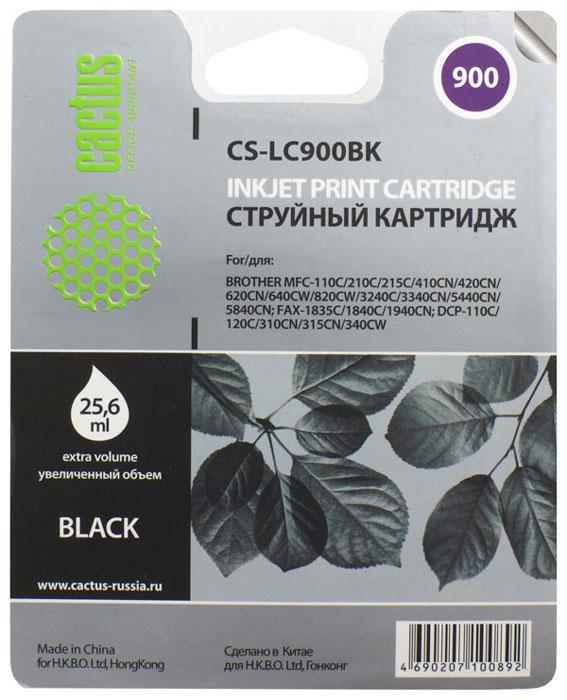 Cactus CS-LC900BK, Black картридж струйный для Brother DCP-110/115/120/MFC-210/215/FAX-1840