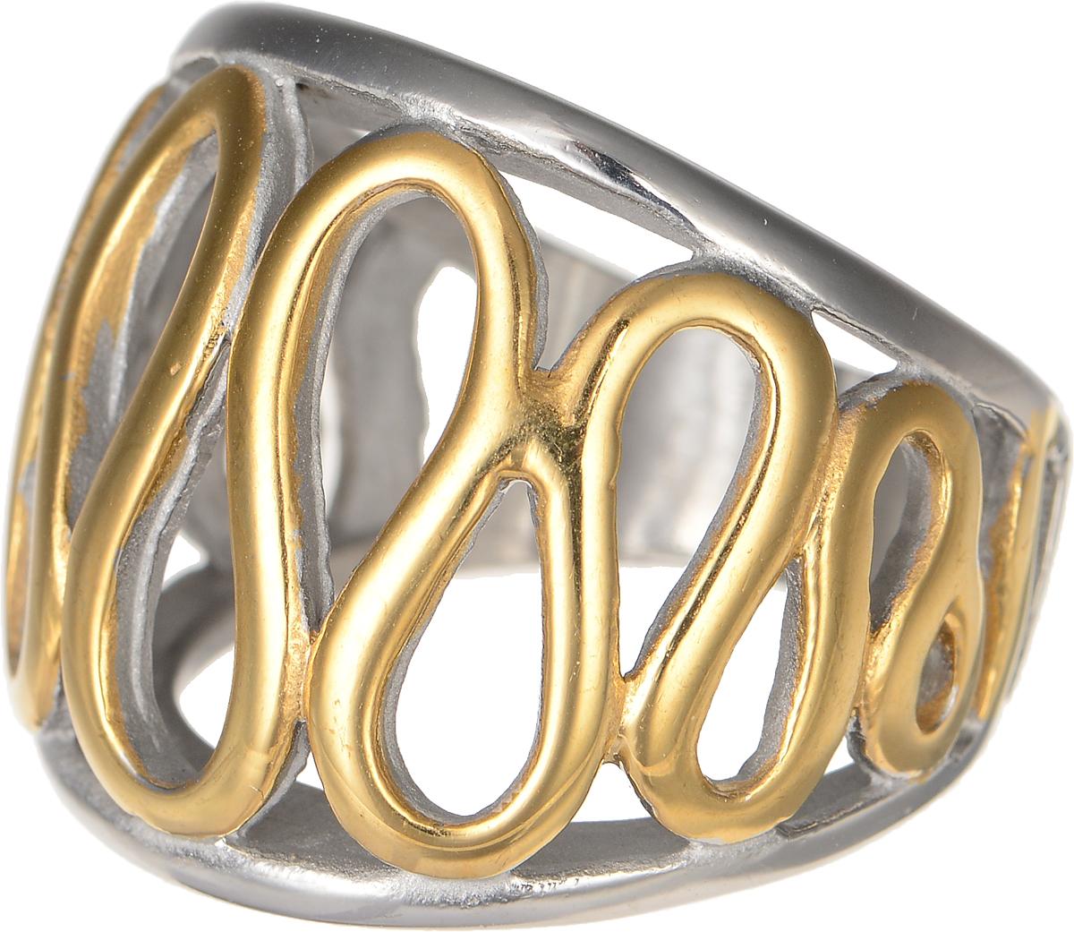 Кольцо Polina Selezneva, цвет: серебристый, золотистый. DG-0011. Размер 20DG-0011-10Стильное кольцо Polina Selezneva изготовлено из качественного металлического сплава и выполнено в оригинальном дизайне. Кольцо оформлено резным узором.