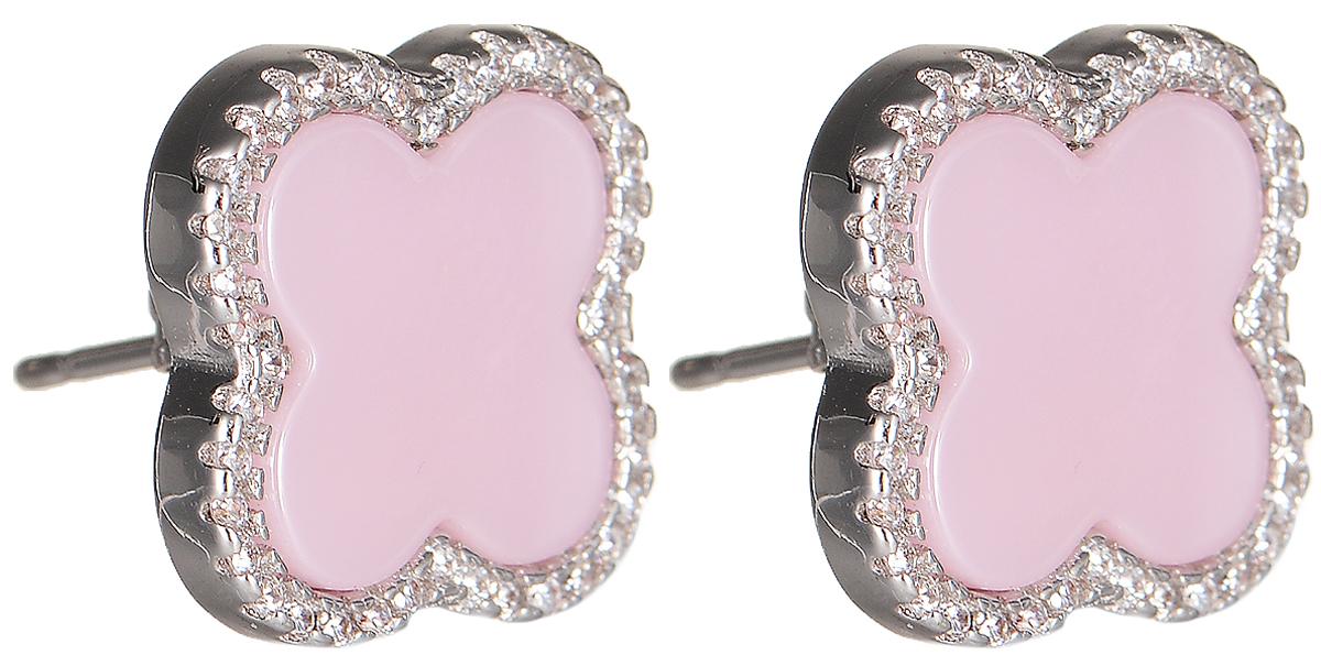 Серьги Polina Selezneva, цвет: серебристый, розовый. CG-0052CG-0052Серьги Polina Selezneva выполнены из металлического сплава. Декоративный элемент выполнен в виде цветка и оформлен вставками из ювелирной смолы и страз. Изделие застегивается с помощью замка-гвоздика.