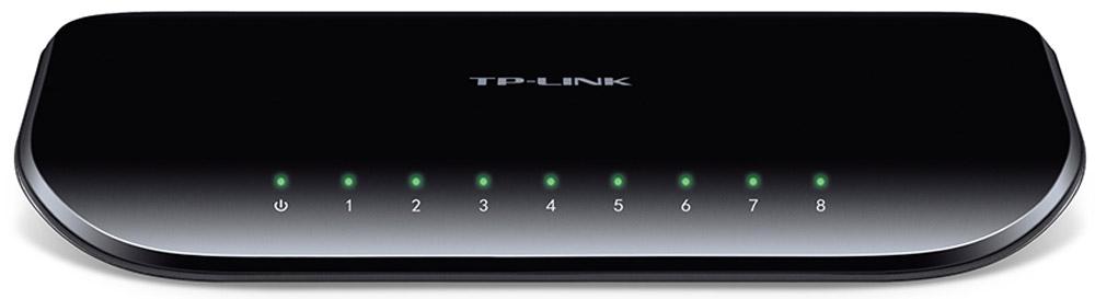 TP-Link TL-SG1008D коммутаторTL-SG1008D8-портовый гигабитный настольный коммутатор TP-Link TL-SG1008D представляет собой простое решение для перехода на гигабитный Ethernet. Все 8 портов поддерживают функцию авто-MDI/MDIX, больше не нужно думать о типе кабеля, просто воткните кабель в устройство и оно будет с ним работать. Более того, применение инновационной энергосберегающей технологии позволит сберечь до 80% потребляемой электроэнергии, поэтому TL-SG1008D представляет собой экологически безопасное устройство для вашей офисной сети. Гигабитный коммутатор Модель TL-SG1008D оснащена 8 портами 10/100/1000 Мбит/с, что значительным образом увеличивает пропускную способность вашей сети, позволяя передавать файлы большого размера в кратчайшее время. Поэтому пользователи дома, в офисе, в рабочей группе или дизайн-студии теперь могут быстрее передавать большие, чувствительные к пропускной способности канала файлы. Мгновенная передача по сети графики, CGI-, CAD- и мультимедиа-файлов. Прояви заботу об...