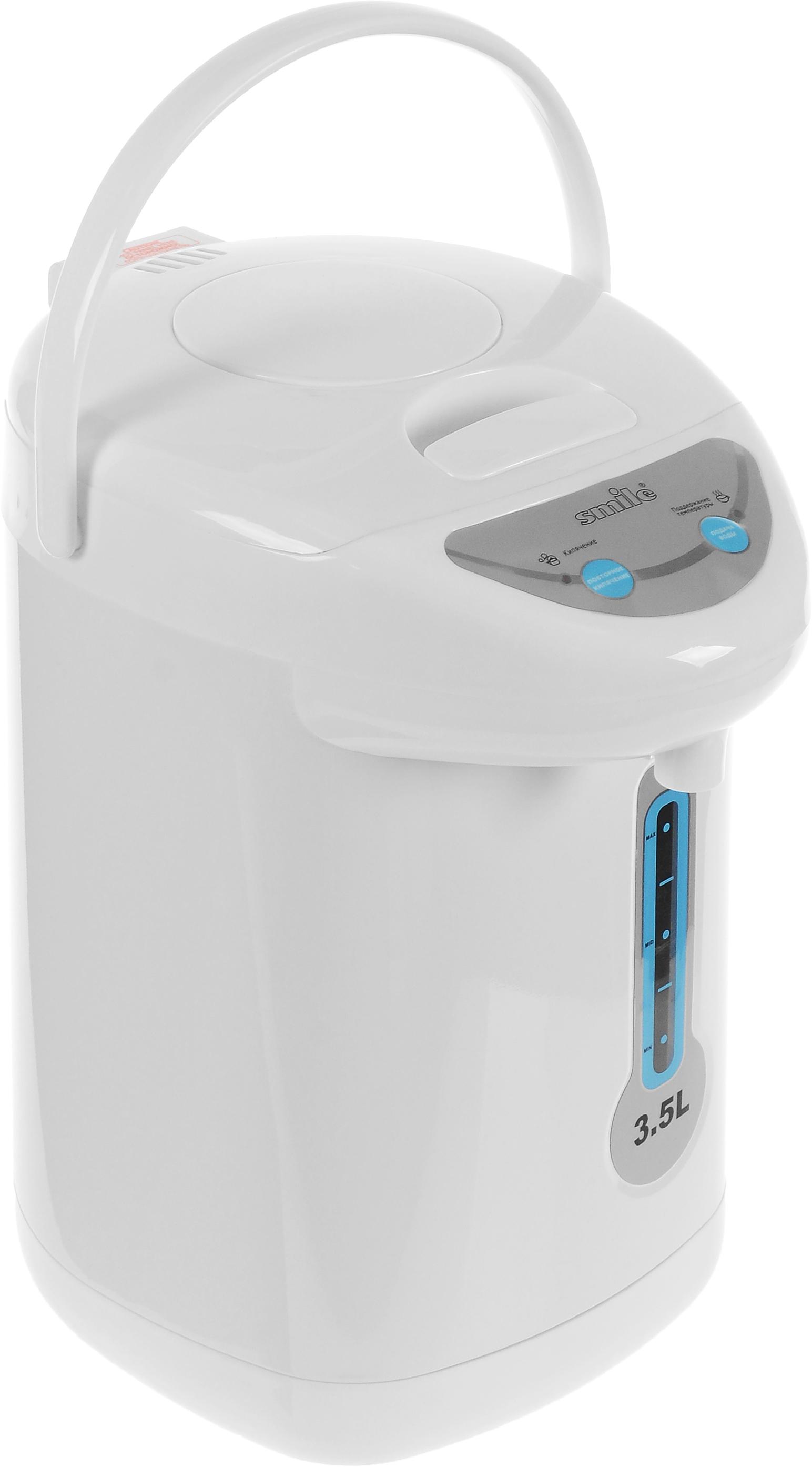 Smile TP 1074, White термопотTP 1074Smile TP 1074 - надежный термопот с объемом 3,5 литра. Прибор оснащен скрытым нагревательным элементом. Корпус прибор изготовлен из качественного пластика а резервуар для воды - из нержавеющей стали. Вам доступны 3 способа подачи воды: ручная помпа, электронасос и с помощью нажатия чашки на клапан. Имеются также функции повторного кипячения и поддержания температуры. Мощность данной модели составляет 800 Вт.