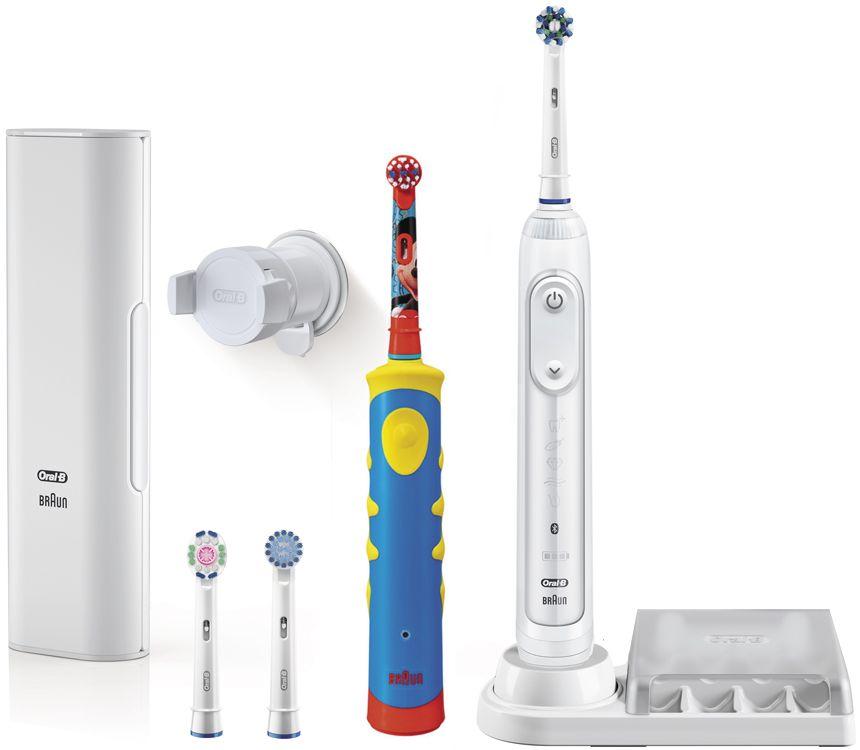 Oral-B Genius 8200 набор электрических зубных щеток81606316Набор электрических зубных щеток Oral-B Genius 8200 включает взрослую электрическую зубную щетку Oral-B D701 с датчиком определения зоны чистки и детскую зубную щетку Oral-B D10K со встроенным музыкальным таймером. Электрические зубные щетки Oral-B чистят зубы именно так, как рекомендуют стоматологи. Они не только удаляют до 100% больше зубного налета, чем мануальные зубные щетки, но и улучшают здоровье десен. Oral-B Genius через Bluetooth синхронизируется с бесплатным приложением Oral-B App для iOS и Android, контролируя в режиме реального времени процесс чистки зубов. Датчик определения зоны чистки взаимодействует с фронтальной камерой смартфона и помогает равномерно очистить всю полость рта. Имеется 5 режимов чистки зубов – Ежедневная чистка, Уход за деснами, Для чувствительных зубов, Отбеливание, Профессиональная чистка. Детские электрические зубные щетки обеспечивают превосходную гигиену полости рта с учетом особенностей ...