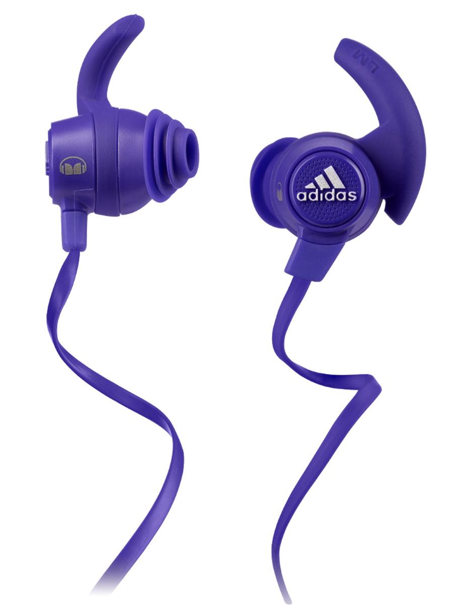 Monster Adidas Sport Response, Purple наушники128650-00Наушники Monster Adidas Sport Response останутся на месте благодаря запатентованной технологии SportClip даже при увеличении интенсивности тренировки, а погружаясь в чистый звук с технологией Pure Monster Sound, вы одновременно останетесь вовлеченными в окружающую действительность. Эти наушники дают вам погрузиться в море адреналина чистого звука, но одновременно безопасны для активного отдыха, бега или велосипедного спорта. Насадки с антибактериальным покрытием легко моются водой с небольшим количеством мыла. Вам больше не придется терять время на распутывание кабеля. Плоский кабель также наиболее удобен при одновременном использовании со шлемами, очками и масками.