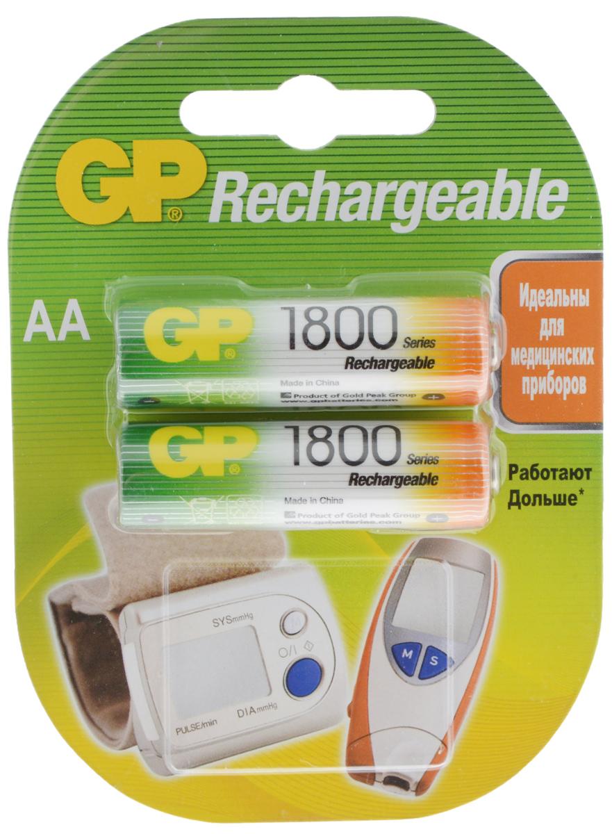 Набор аккумуляторов GP Batteries Rechrgeable, тип АА, 1800 mAh, 2 шт8830Аккумуляторы GP Batteries Rechrgeable производятся по новой, более совершенной технологии LSD, которая гарантирует аккумуляторам низкий саморазряд - позволяет сохранять минимум 30% заряда в течении 2-х лет хранения. Новое свойство аккумуляторов - держать заряд долго - существенно расширяет сферу их применения, ведь теперь они могут полноценно заменять батарейки во всех часто используемых приборах. В отличие от обычных аккумуляторов, аккумуляторы GP нового поколения можно использовать после длительного хранения без дополнительной подзарядки, если заряд не был израсходован полностью. Могут быть перезаряжены до 500 раз.