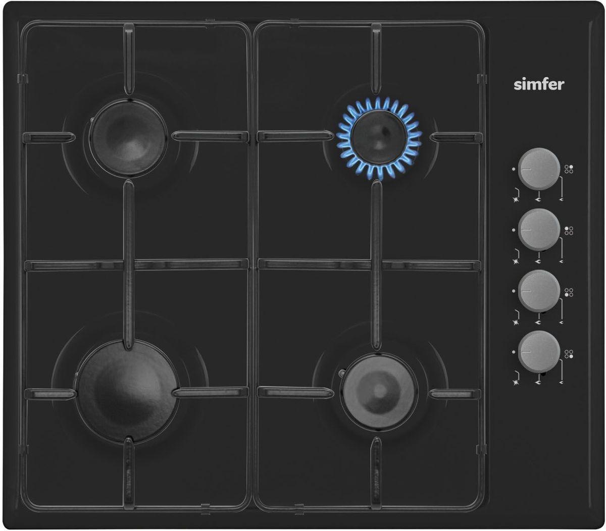 Simfer H60Q40B411 панель варочная газоваяH60Q40B411Газовая варочная панель Simfer H60Q40B411 с чистым пламенем доведет вашу сковороду до нужной температуры без всяких задержек. Включите её и всё днище сковороды будет моментально нагрето. Благодаря идеальному расположению панели управления и индикатора уровня мощности прямо спереди этой варочной панели, любой повар, будь он левша или правша, сможет пользоваться ими с одинаковой лёгкостью. Газовая варочная поверхность Simfer H60Q40B411 упрощает приготовление и делает его безопаснее благодаря особой форме подставок, обеспечивающих абсолютную устойчивость посуды. Нет способа быстрее и удобнее для того, чтобы разжечь конфорку, чем автоподжиг варочной панели. Просто поверните ручку, чтобы открыть и зажечь газ одним плавным движением.